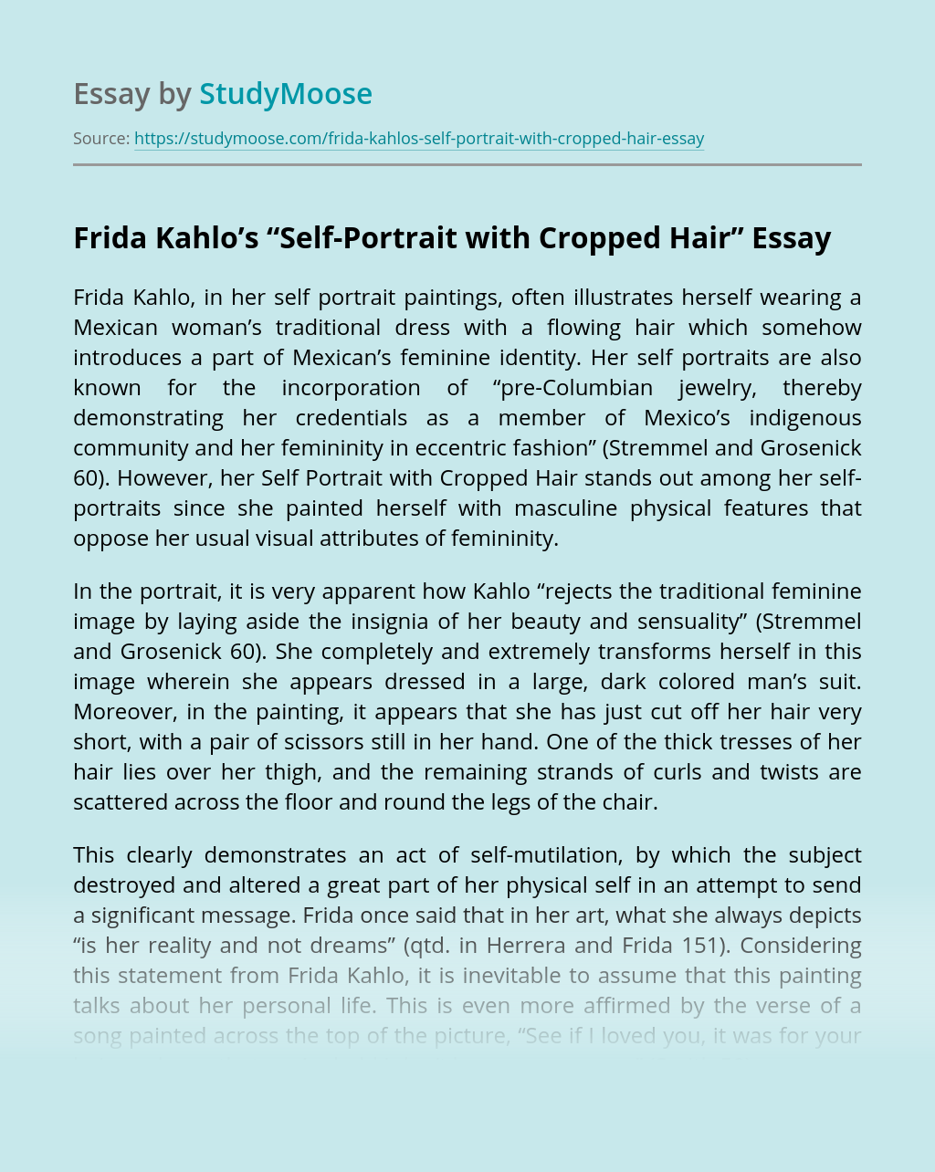 """Frida Kahlo's """"Self-Portrait with Cropped Hair"""""""