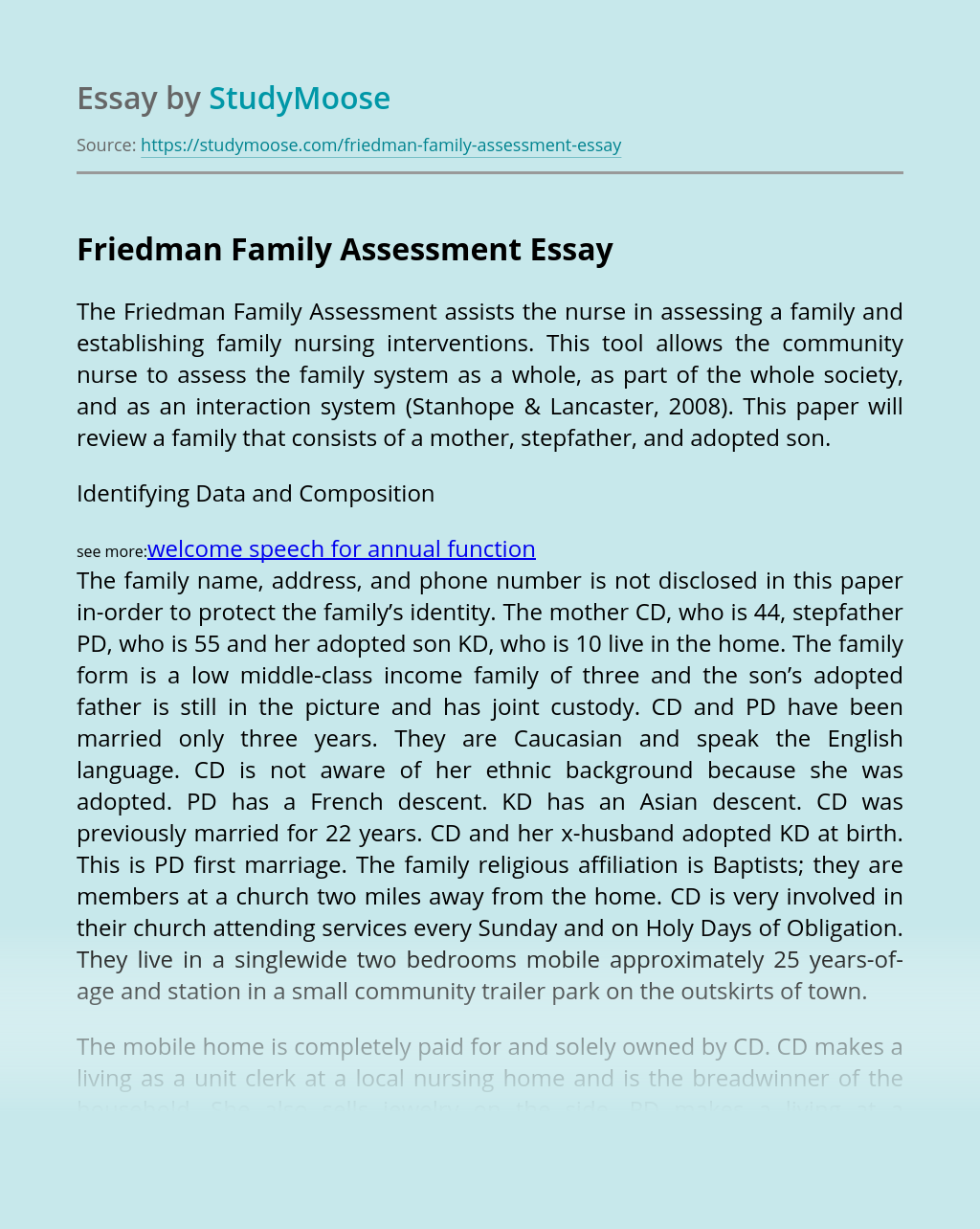 Friedman Family Assessment