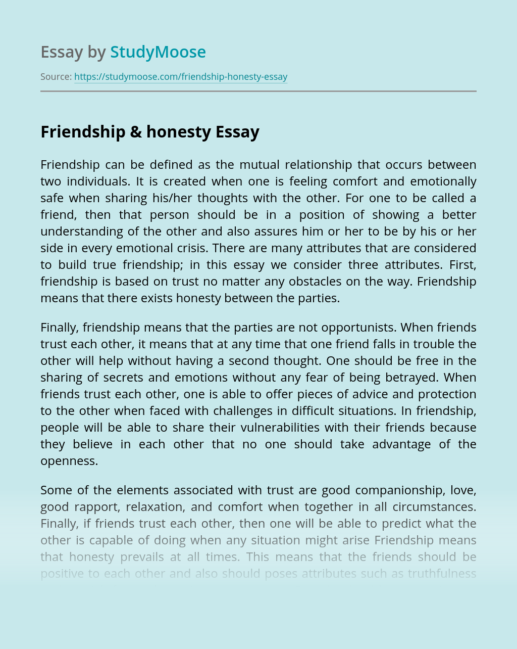 Friendship & honesty