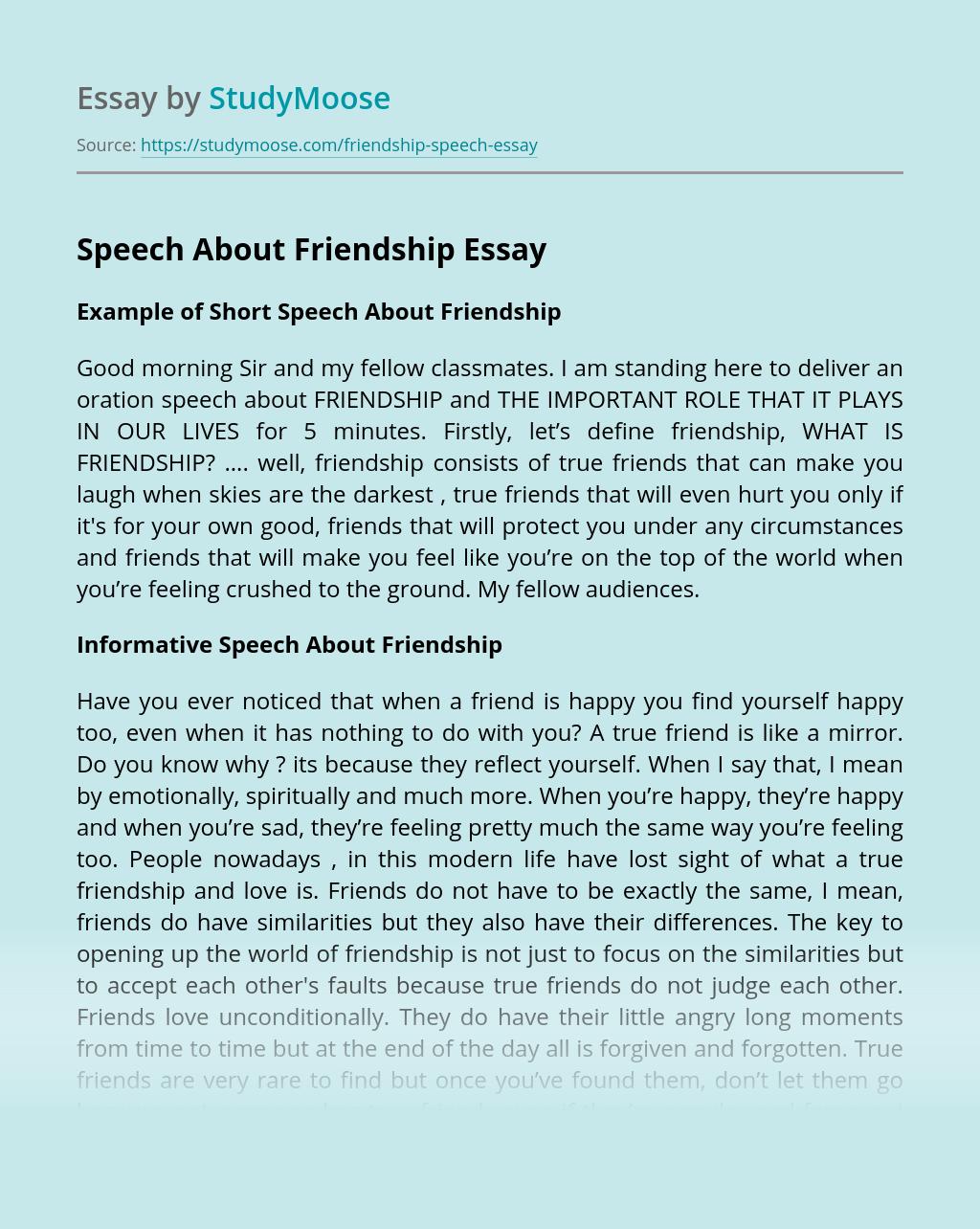 Speech About Friendship