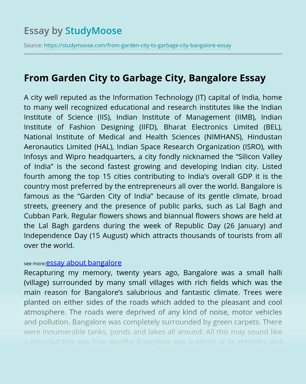 From Garden City to Garbage City, Bangalore