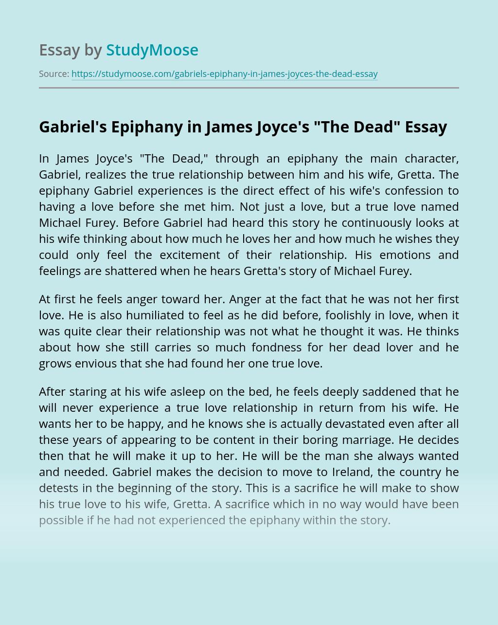 """Gabriel's Epiphany in James Joyce's """"The Dead"""""""