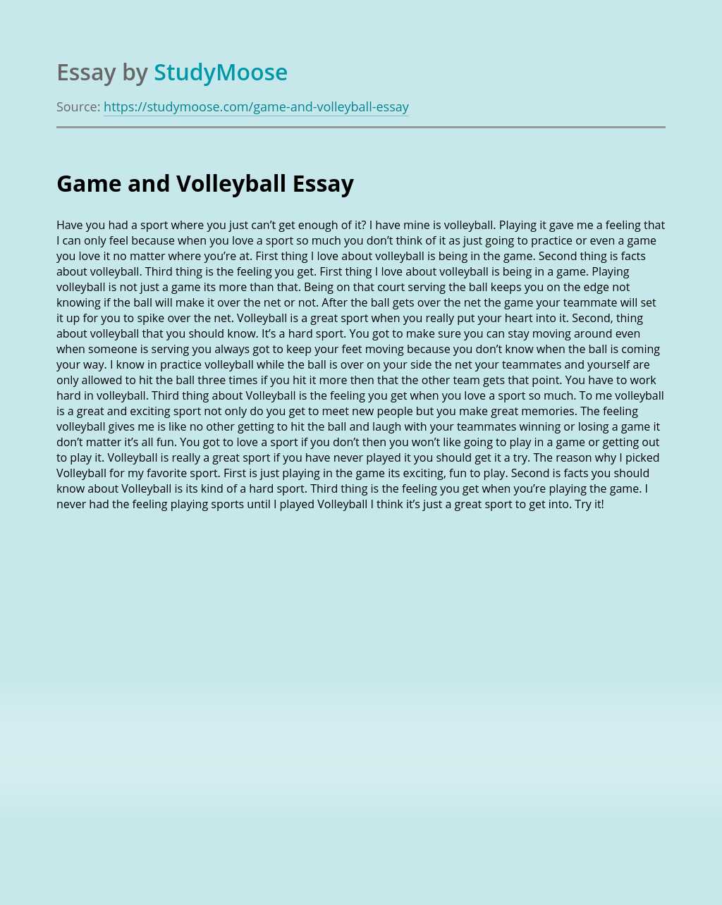 Game And Volleyball Free Essay Example