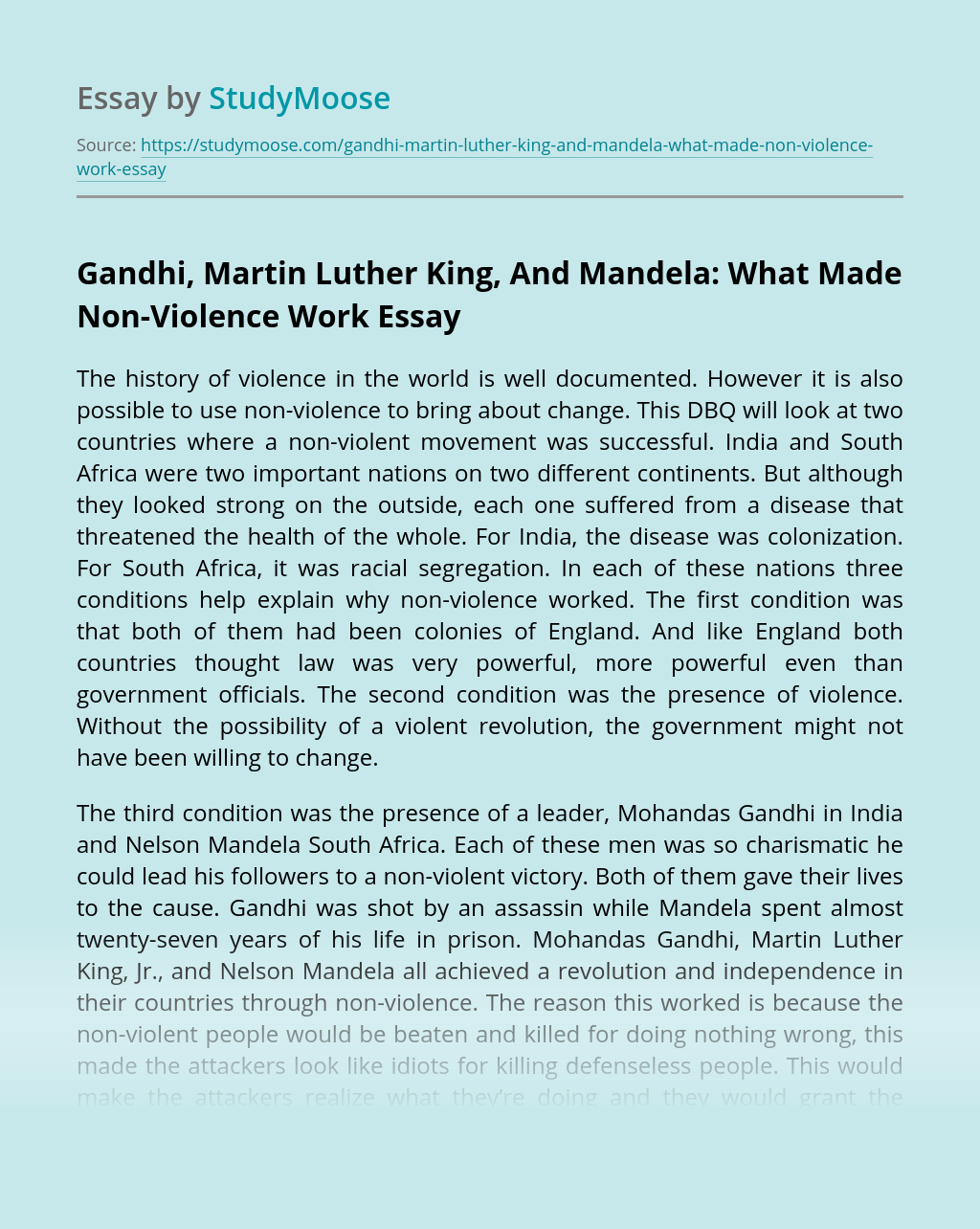 Gandhi, Martin Luther King, And Mandela: What Made Non-Violence Work