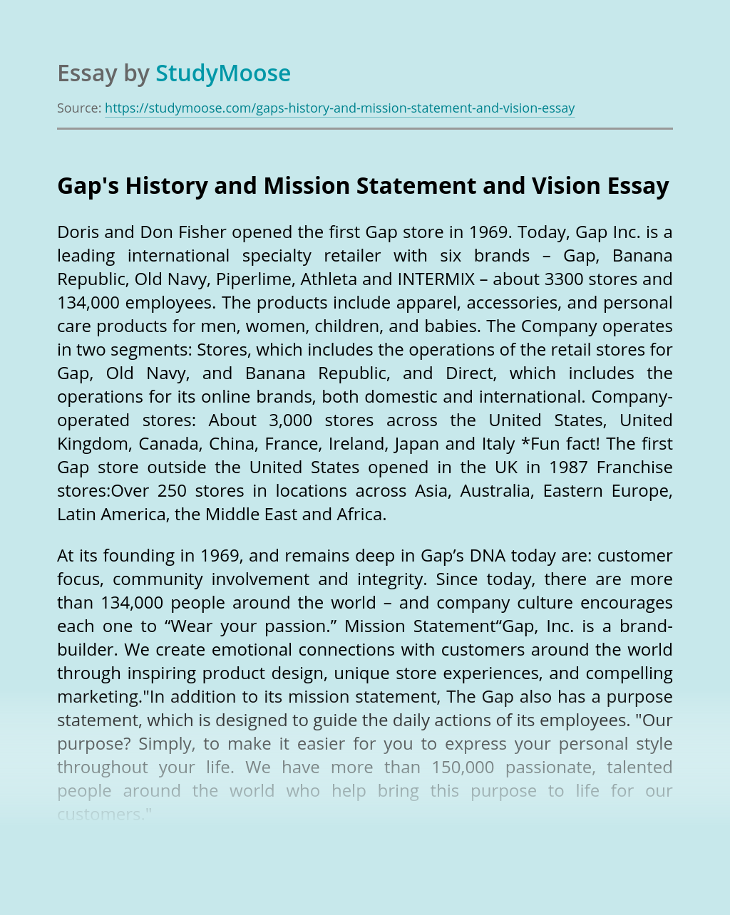 Gap's History and Mission Statement and Vision