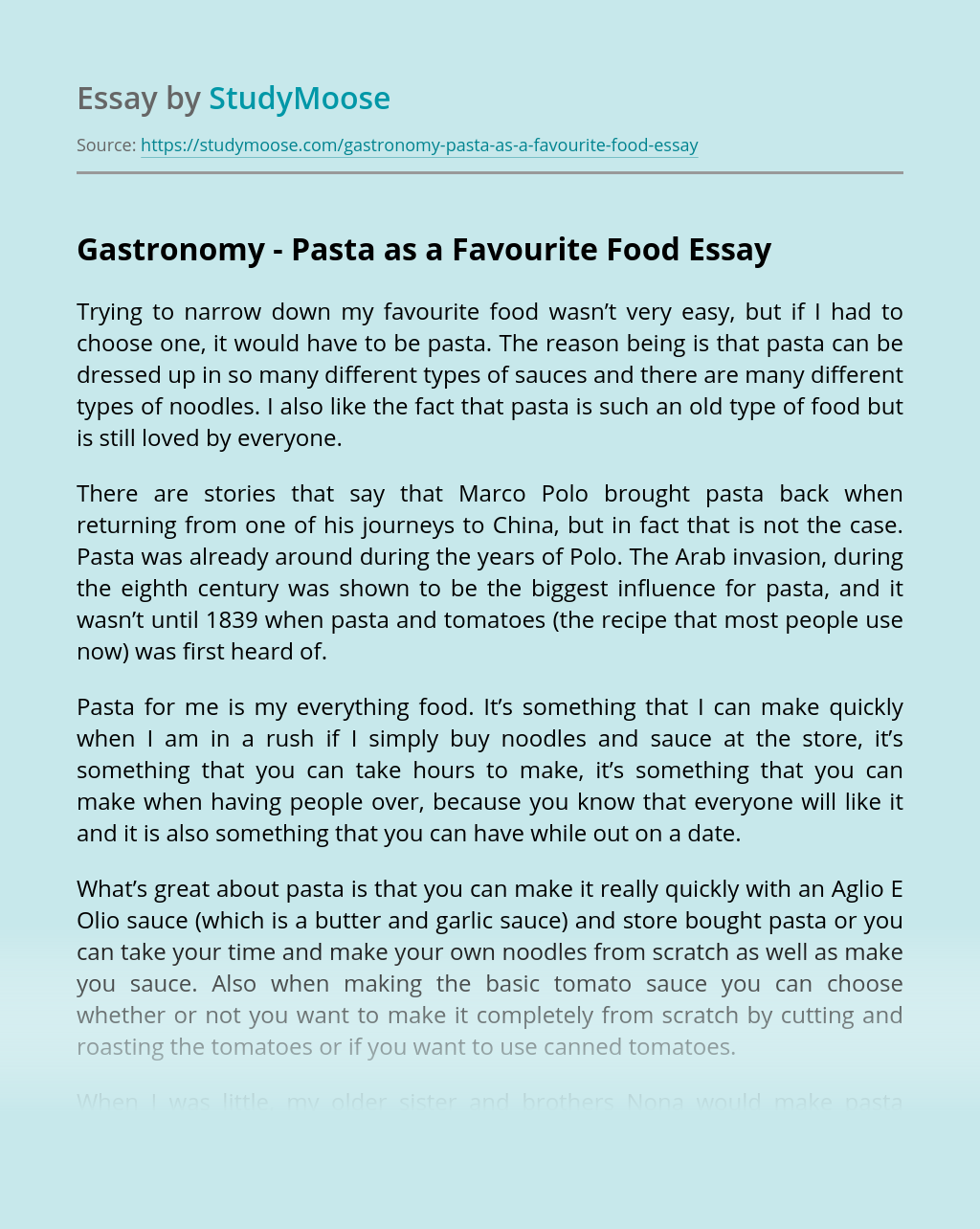 Gastronomy – Pasta as a Favourite Food