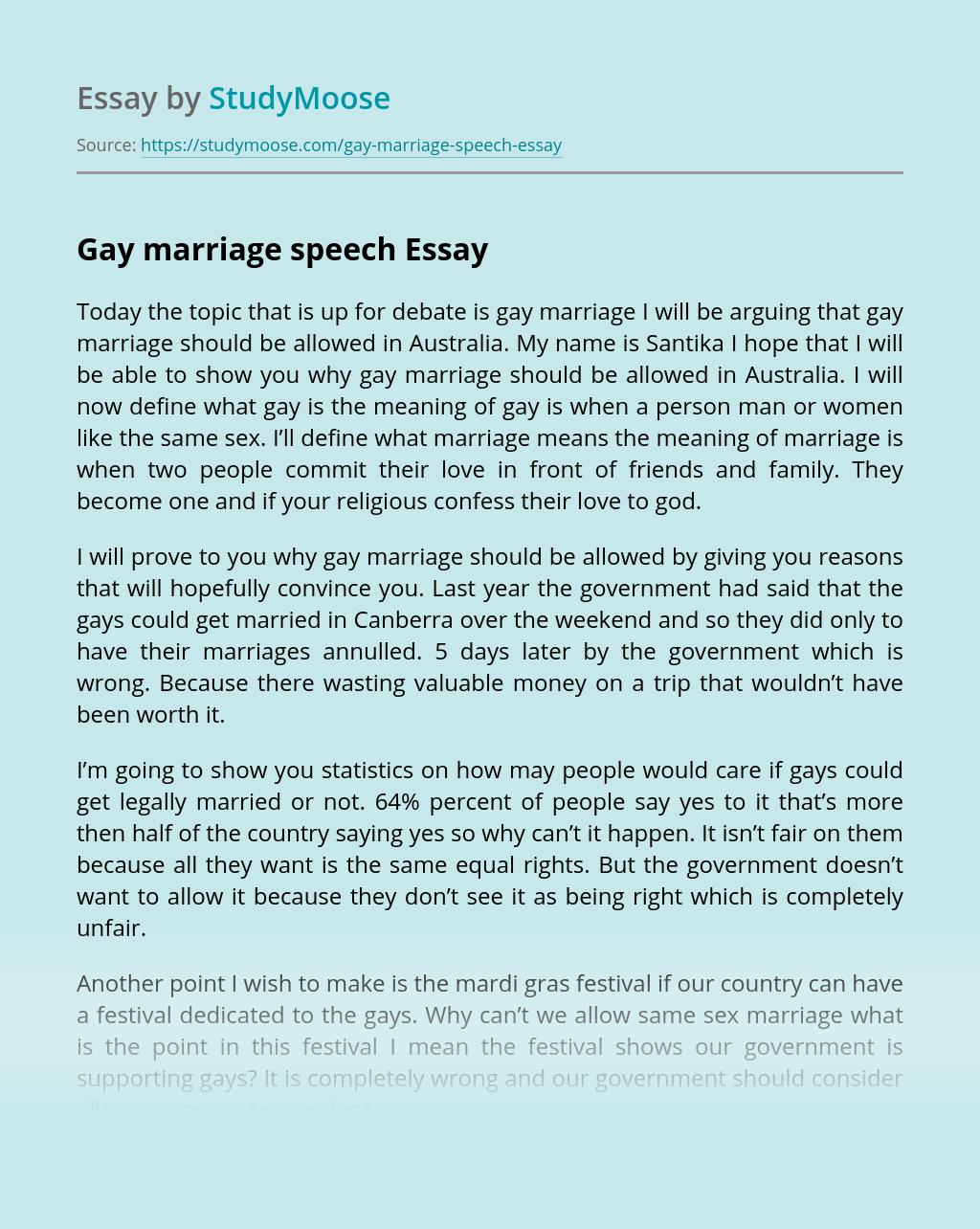 Gay marriage speech