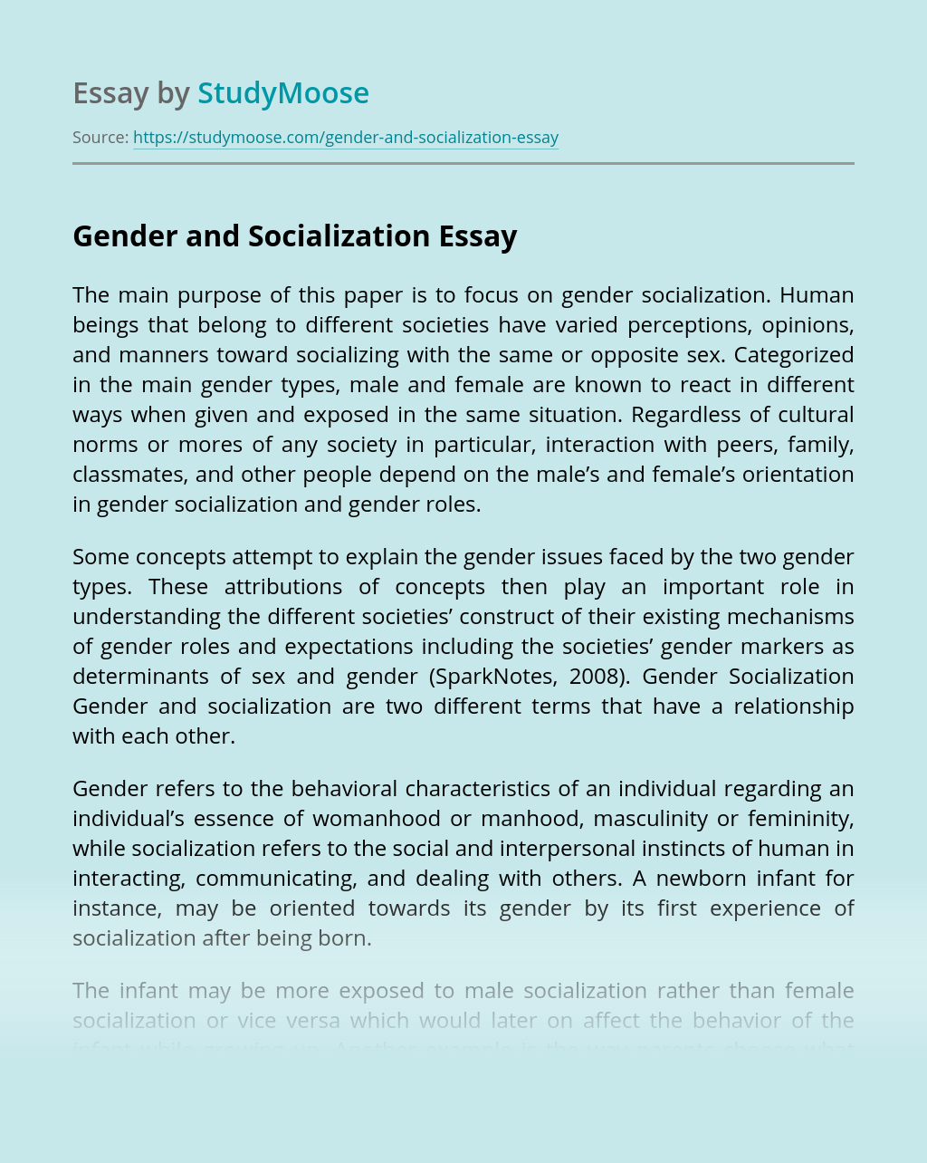 Gender and Socialization