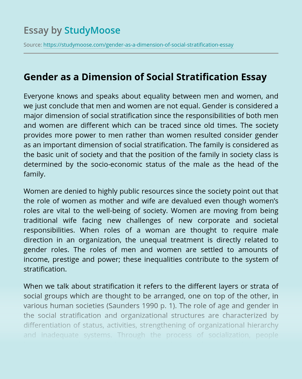 Gender as a Dimension of Social Stratification