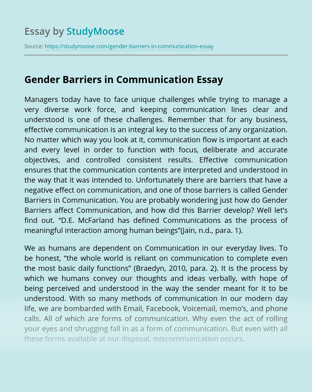 Gender Barriers in Communication