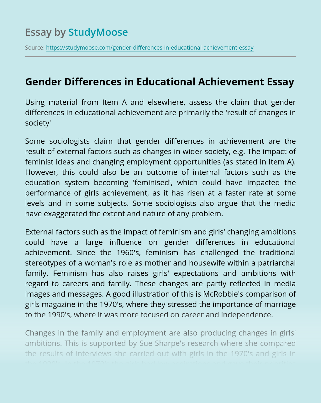 Gender Differences in Educational Achievement