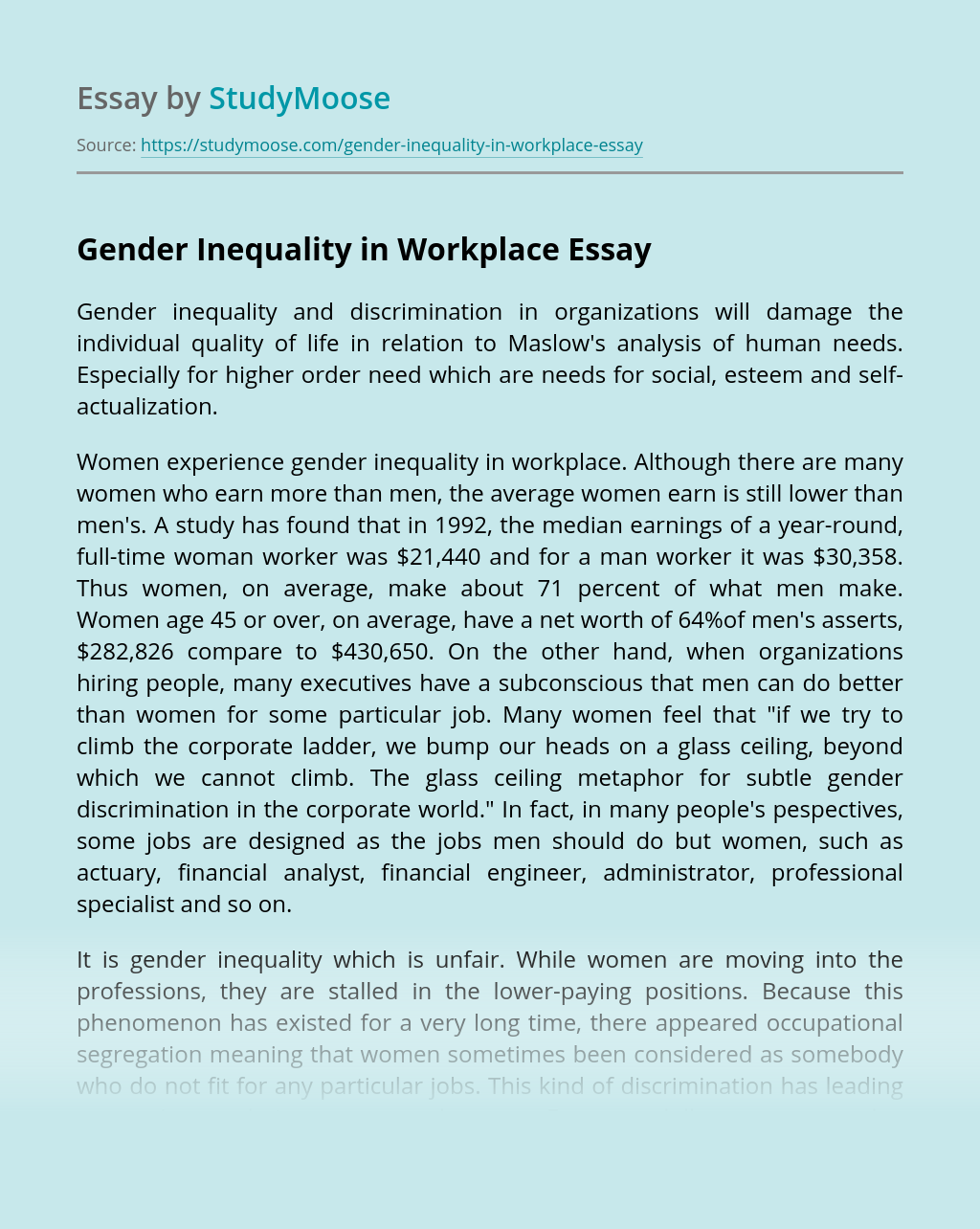 Gender Inequality in Workplace