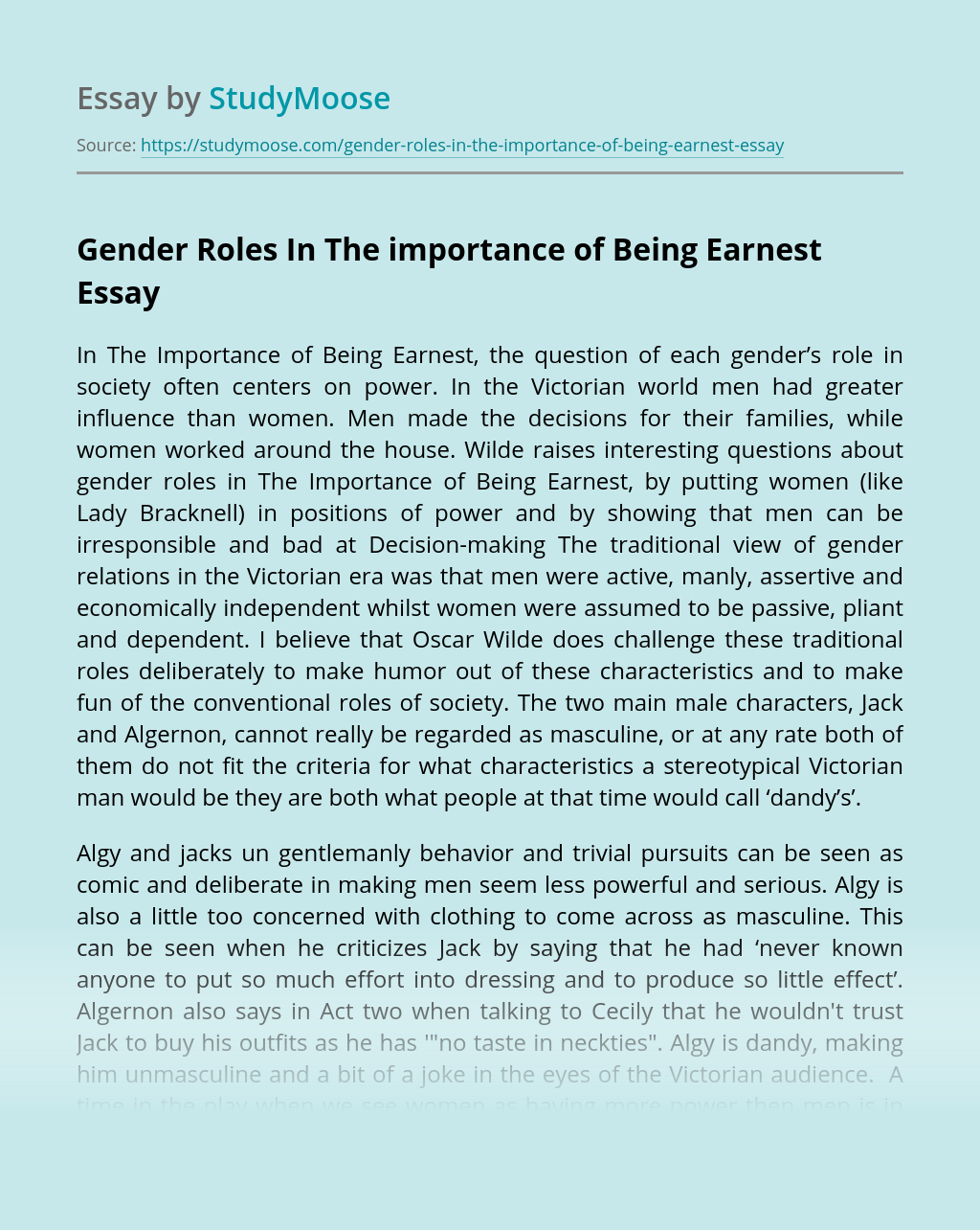 Gender Roles In The importance of Being Earnest