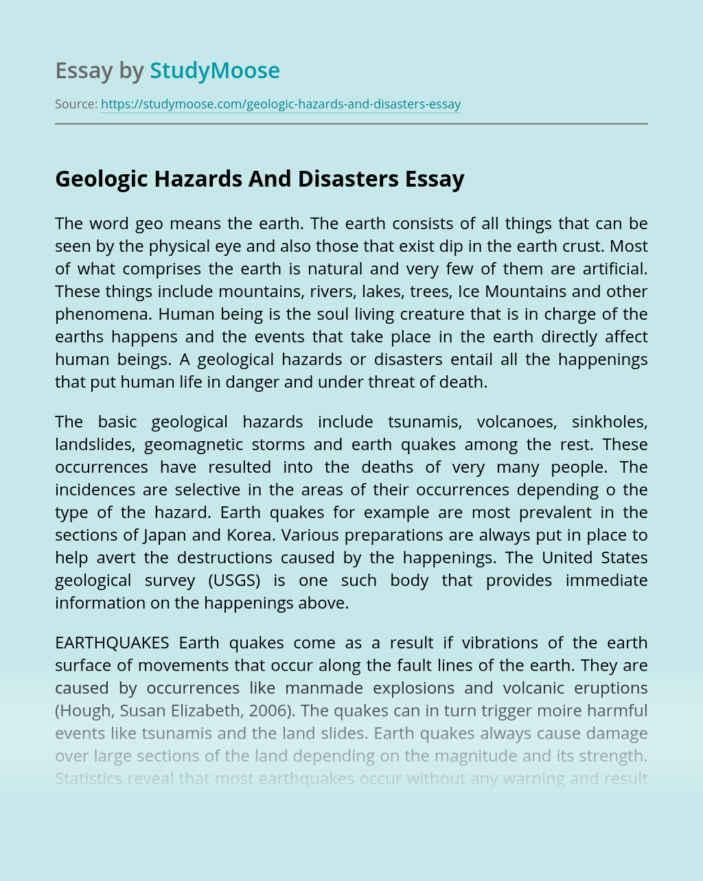 Geologic Hazards And Disasters