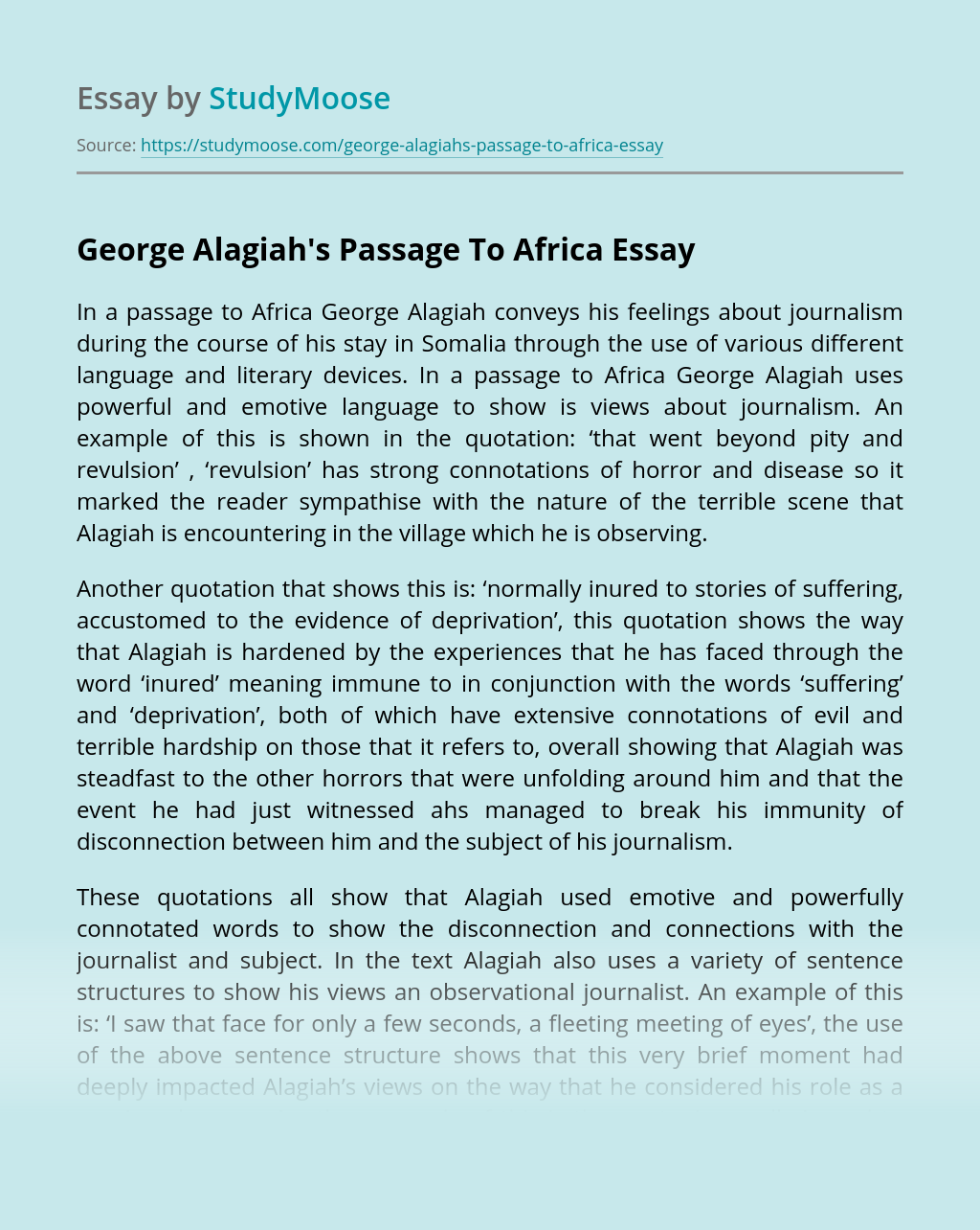 George Alagiah's Passage To Africa