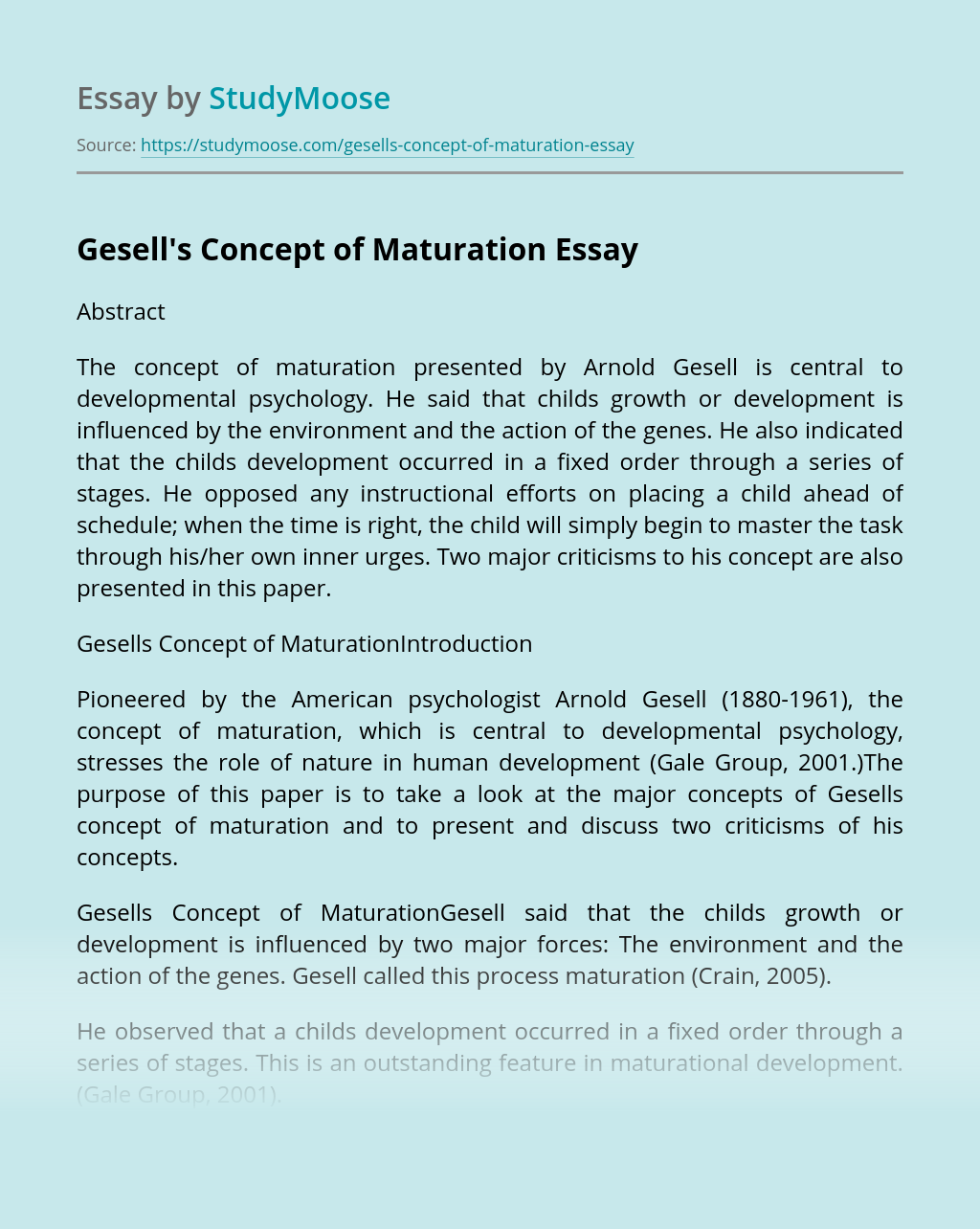 Gesell's Concept of Maturation