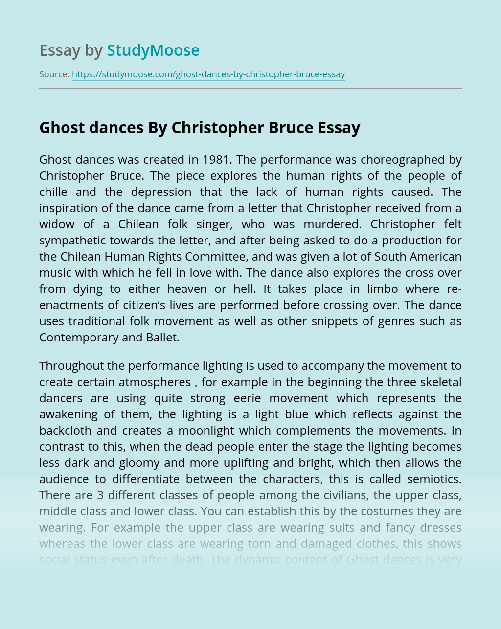 Ghost dances By Christopher Bruce