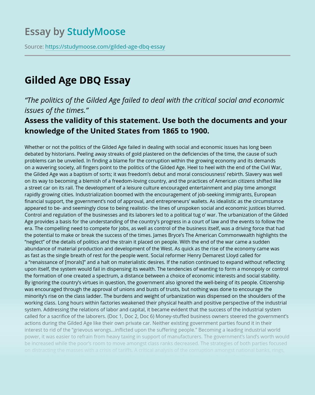 Gilded Age DBQ