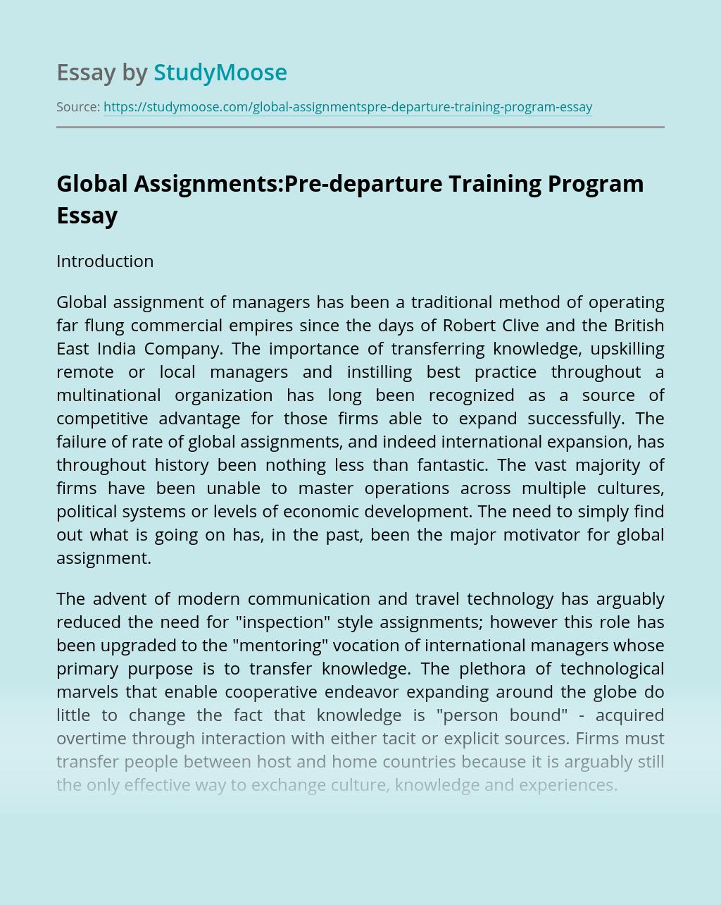Global Assignments:Pre-departure Training Program