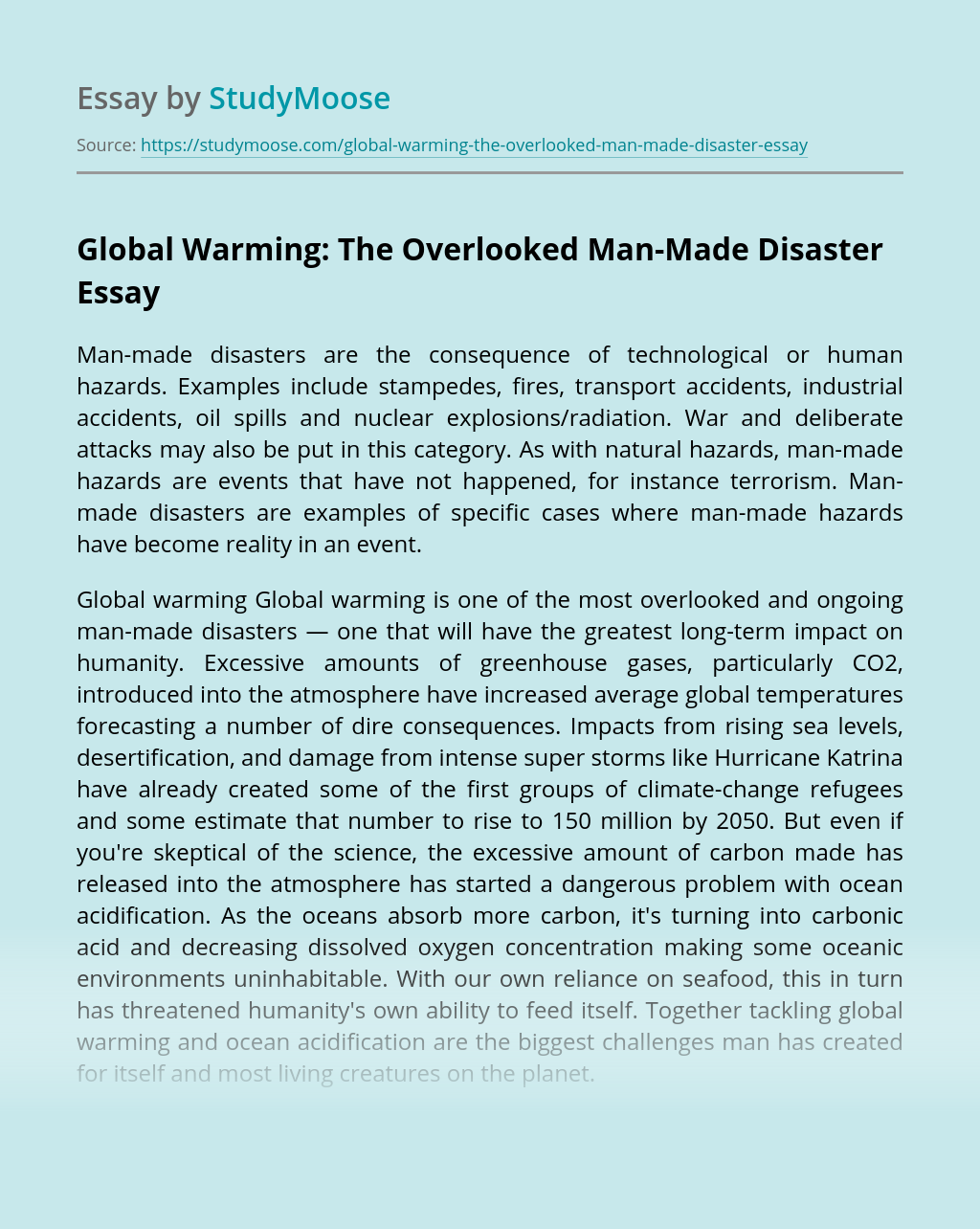 Global Warming: The Overlooked Man-Made Disaster