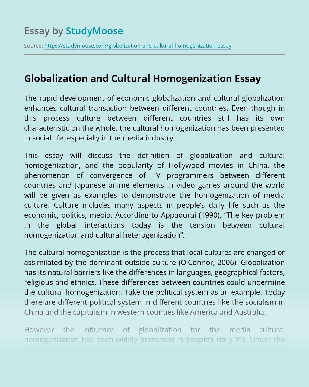 Globalization and Cultural Homogenization