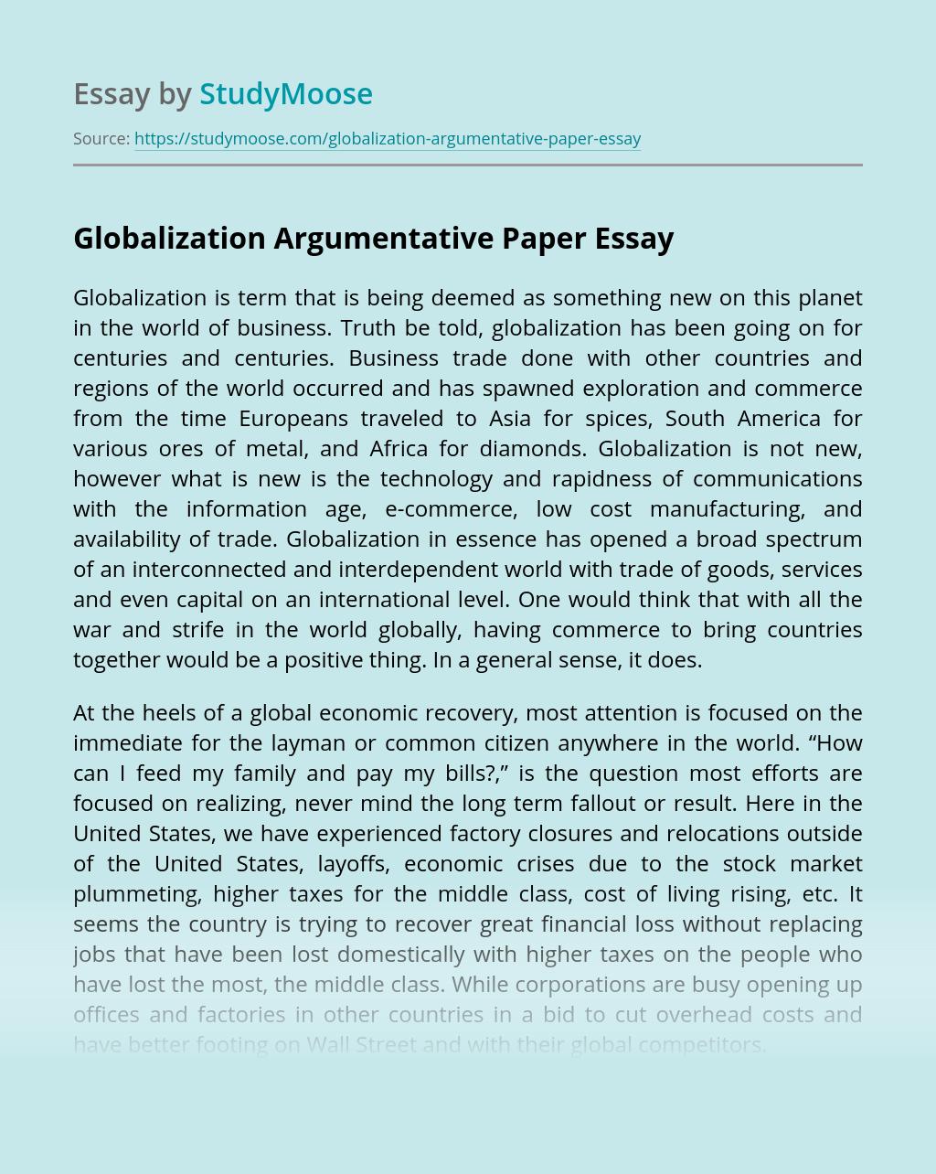 Globalization Argumentative Paper