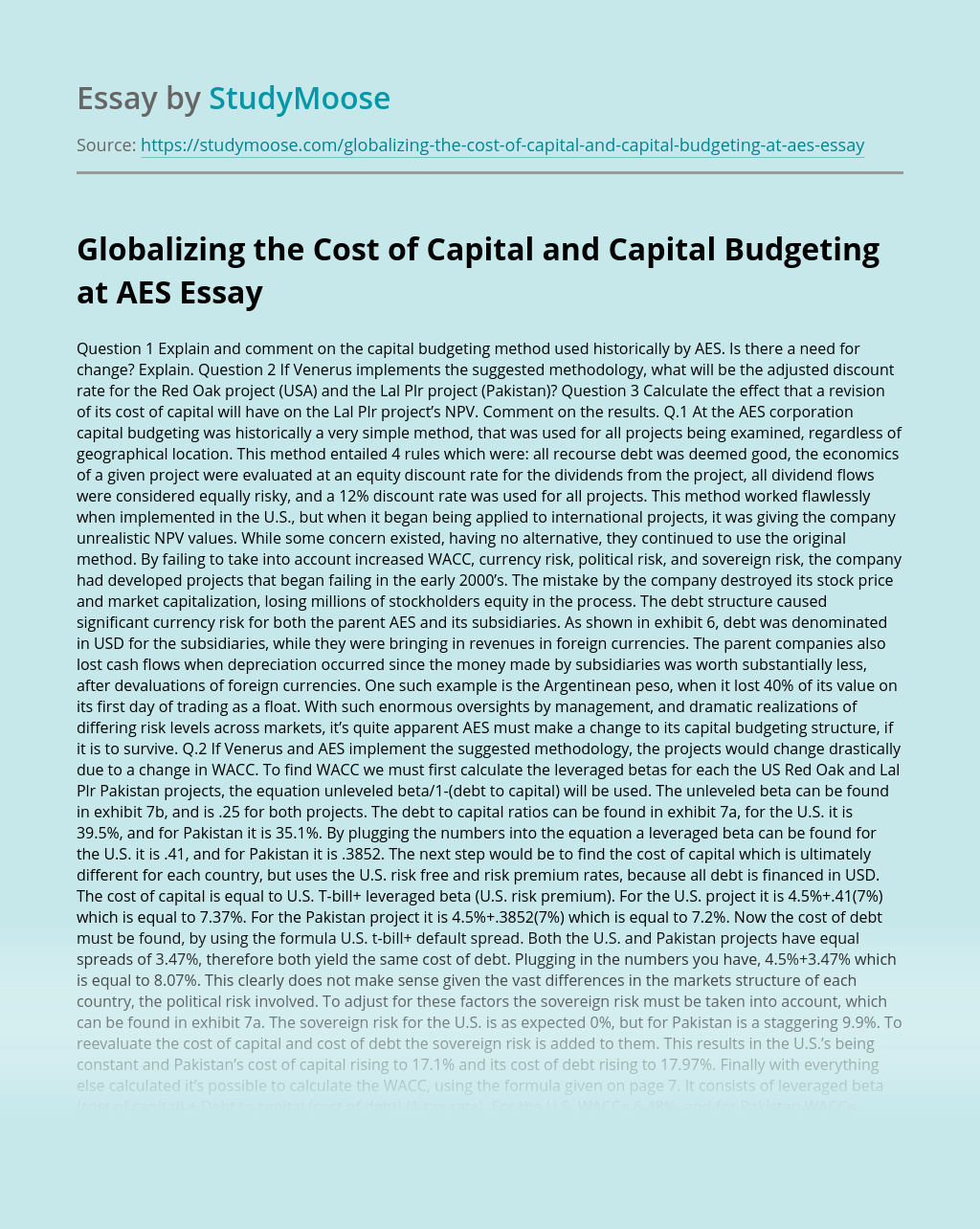 Globalizing the Cost of Capital and Capital Budgeting at AES