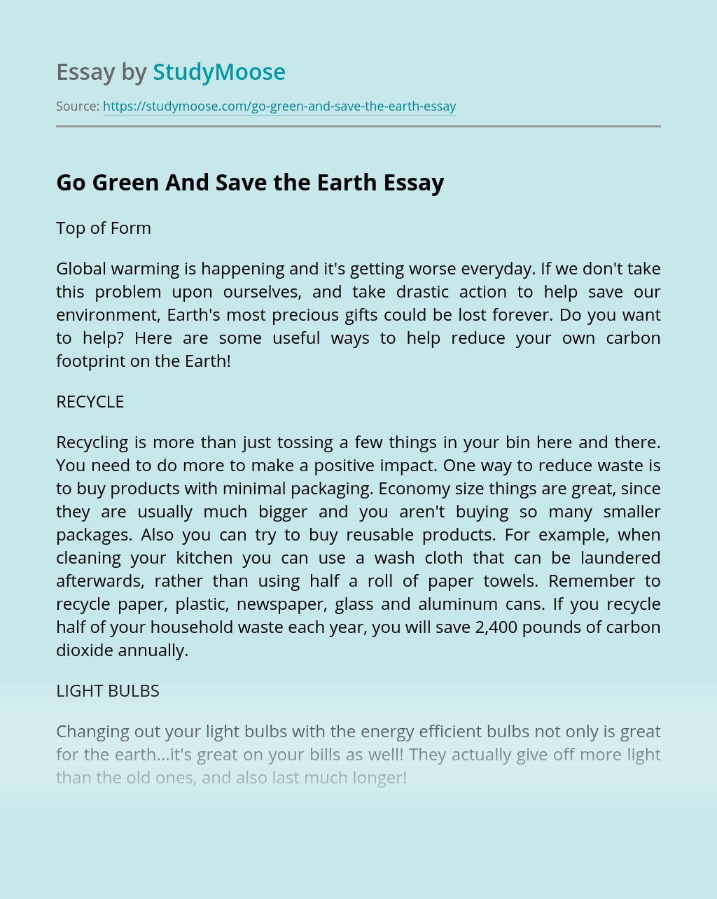 Go Green And Save the Earth