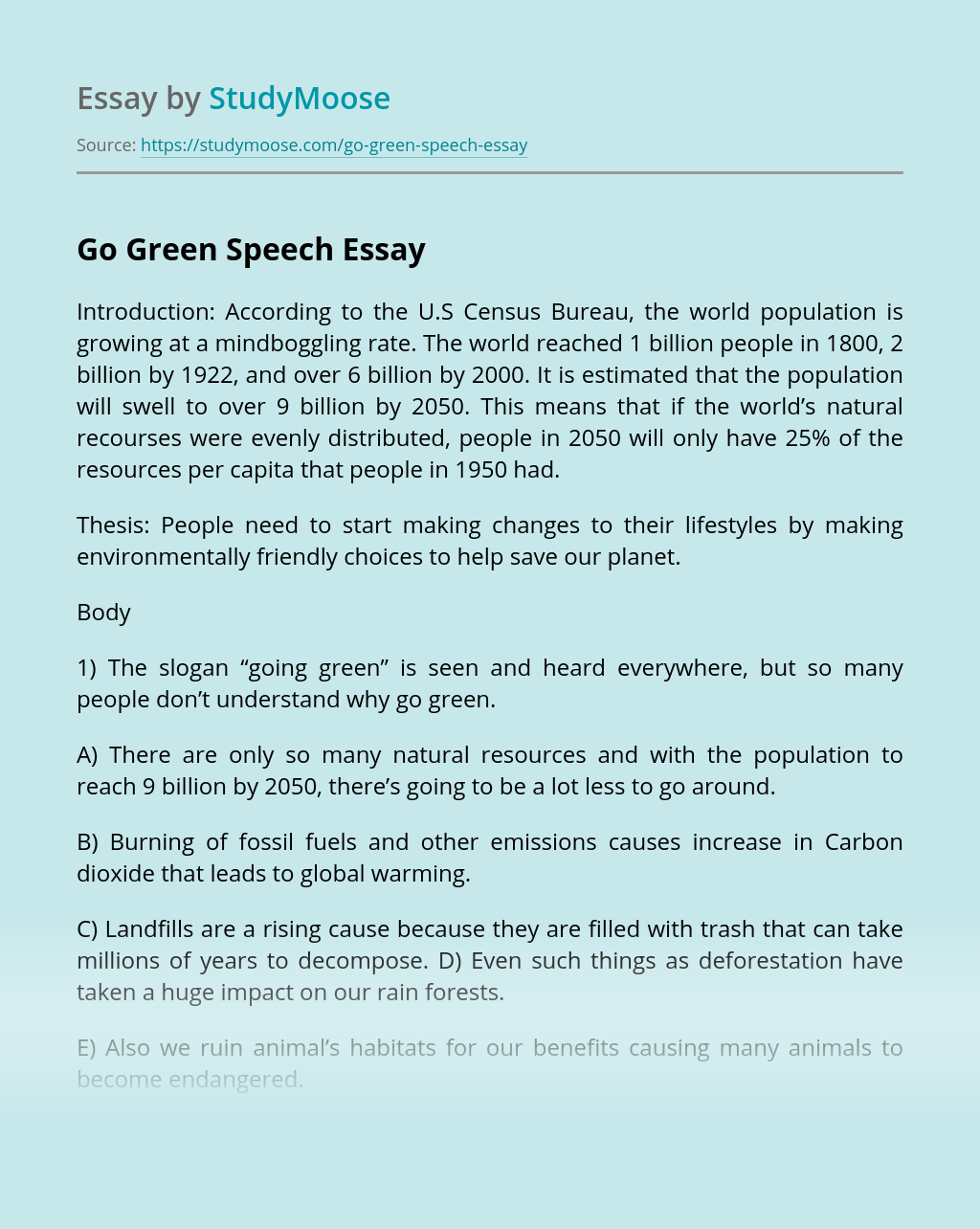 Going green essays