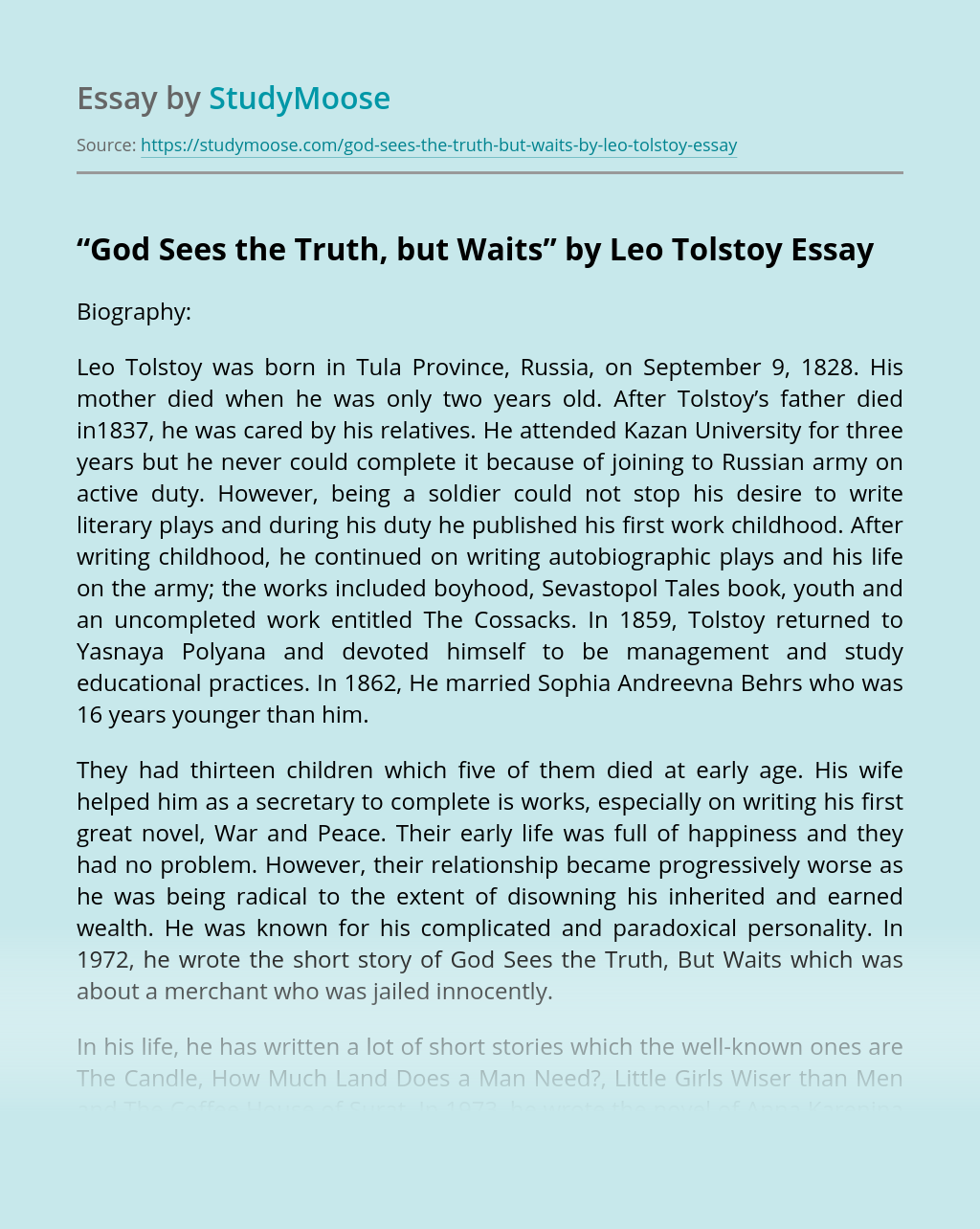"""""""God Sees the Truth, but Waits"""" by Leo Tolstoy"""