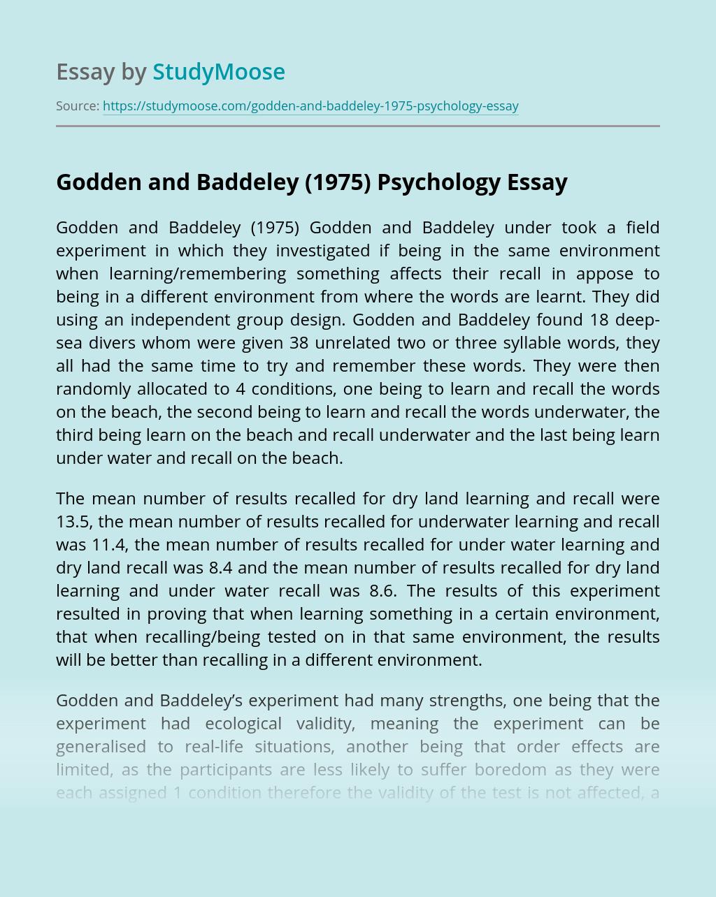 Godden and Baddeley (1975) Psychology