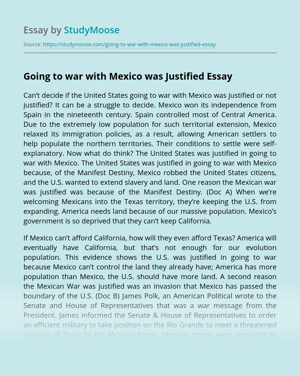Going to war with Mexico was Justified