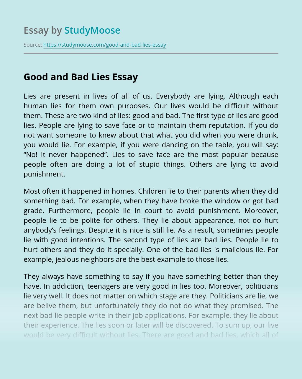 Good and Bad Lies