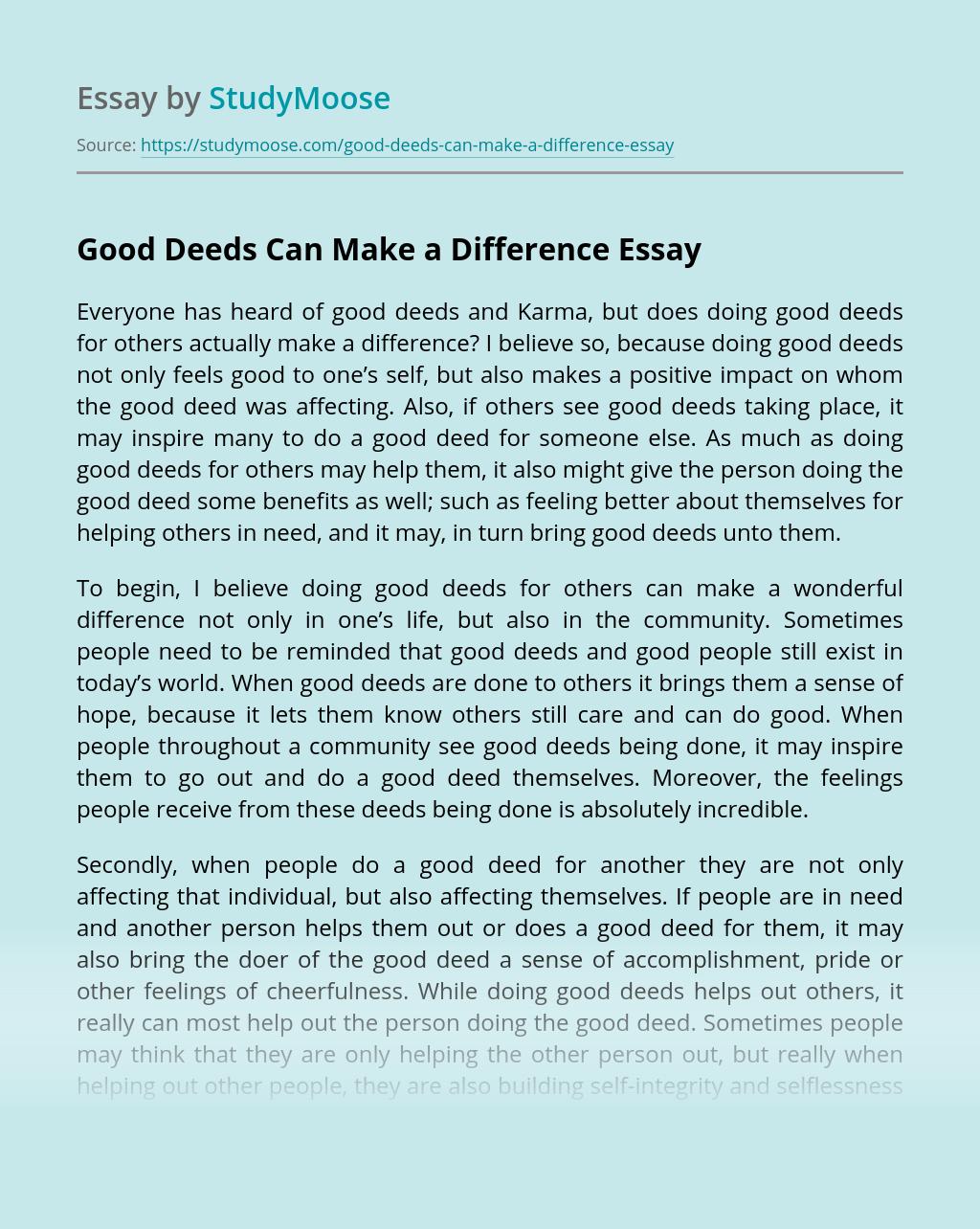 Do Good Have Good Essay