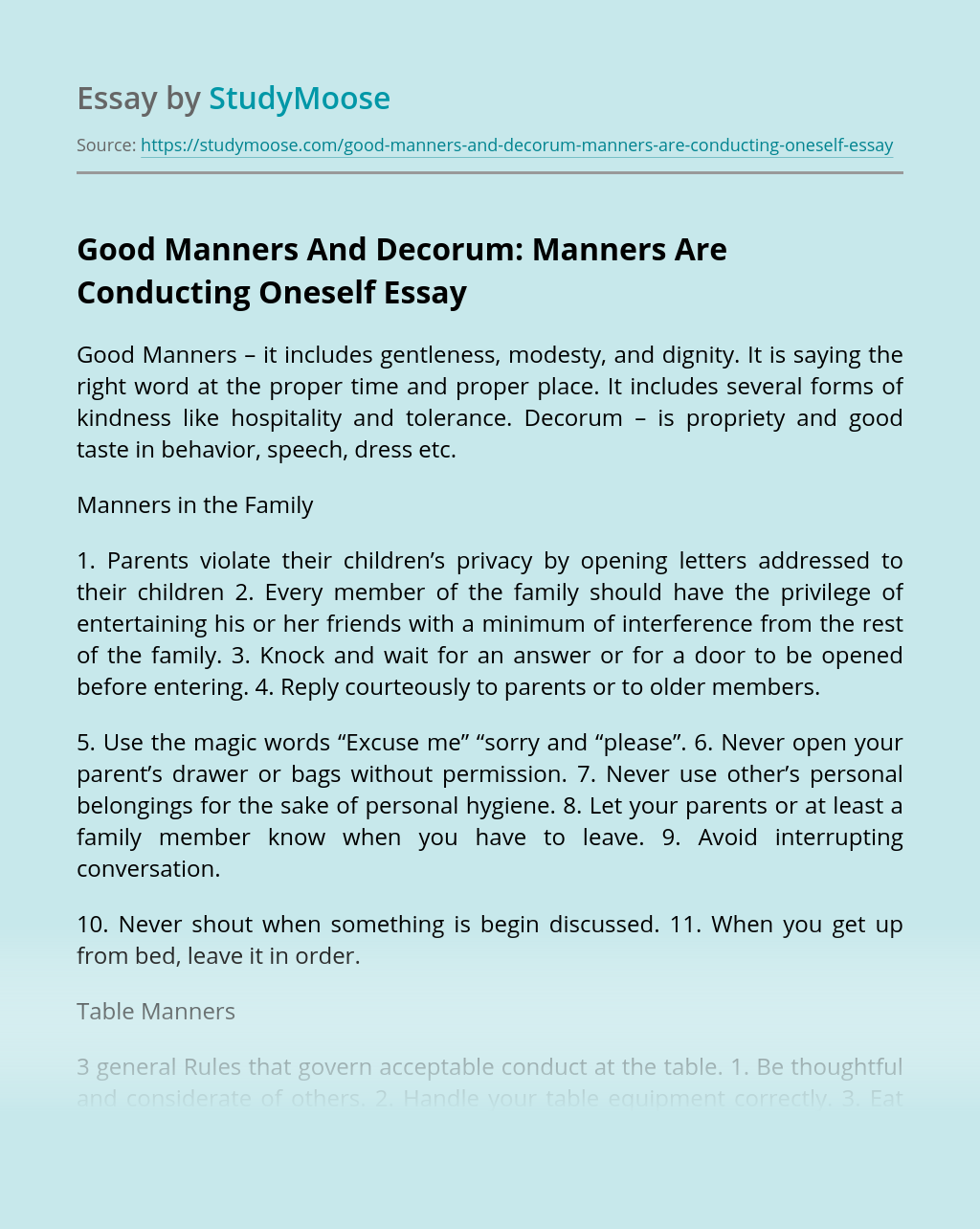 Good Manners And Decorum: Manners Are Conducting Oneself
