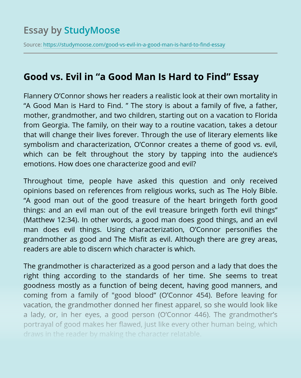 """Good vs. Evil in """"A Good Man Is Hard to Find"""""""
