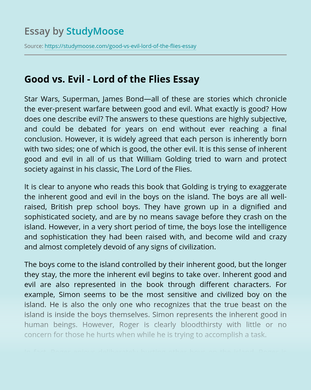 Good vs. Evil – Lord of the Flies