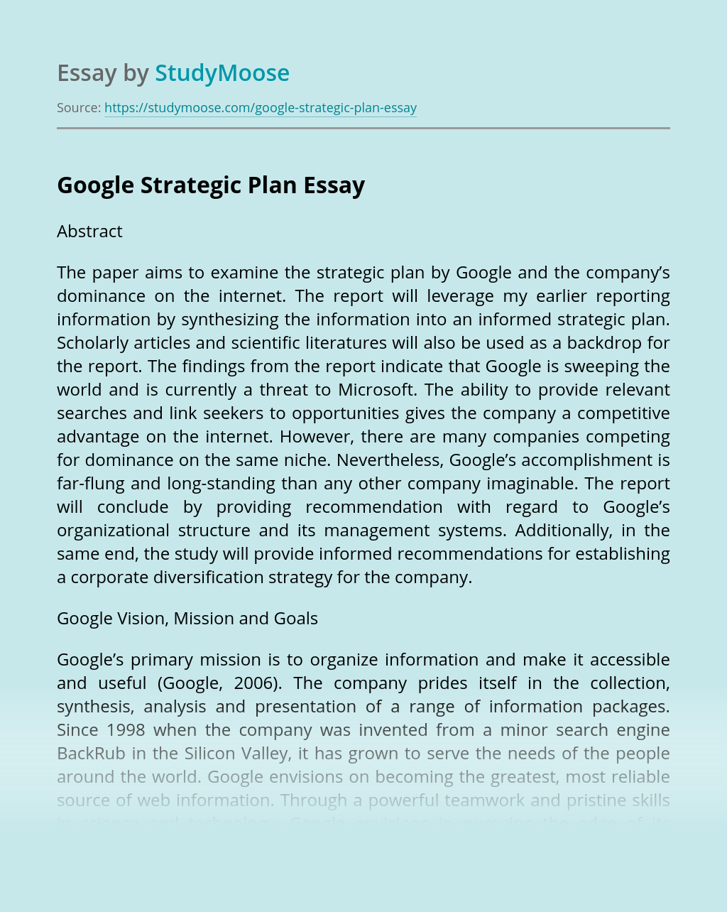 Google Strategic Plan