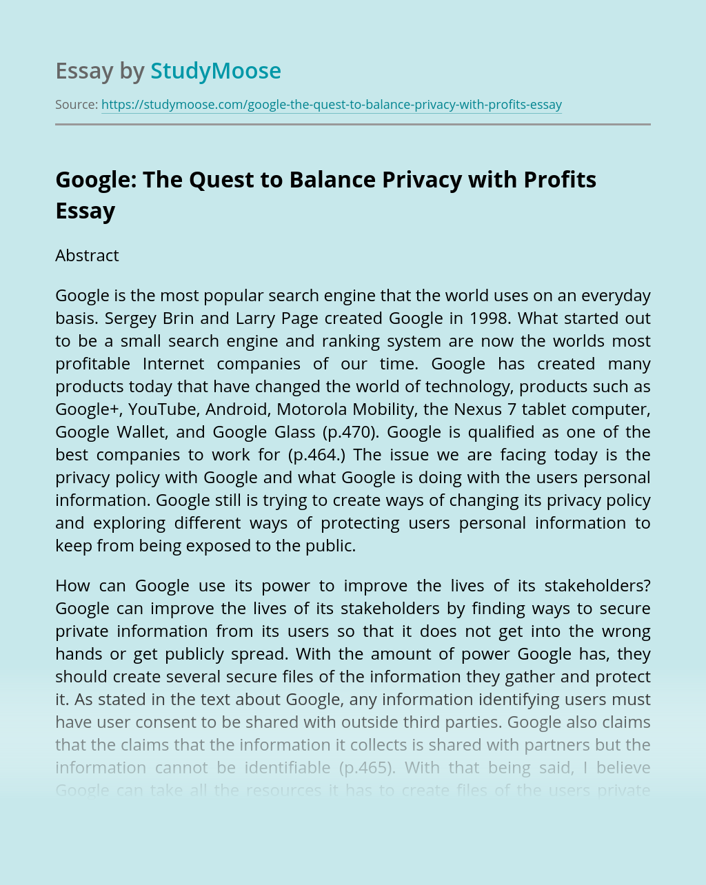 Google: The Quest to Balance Privacy with Profits