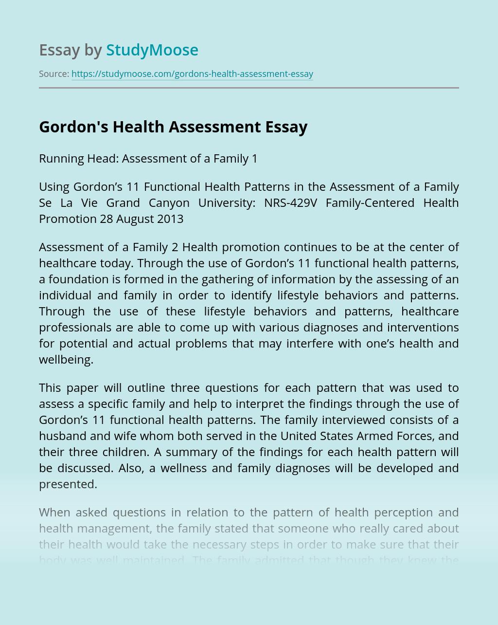 Gordon's Health Assessment