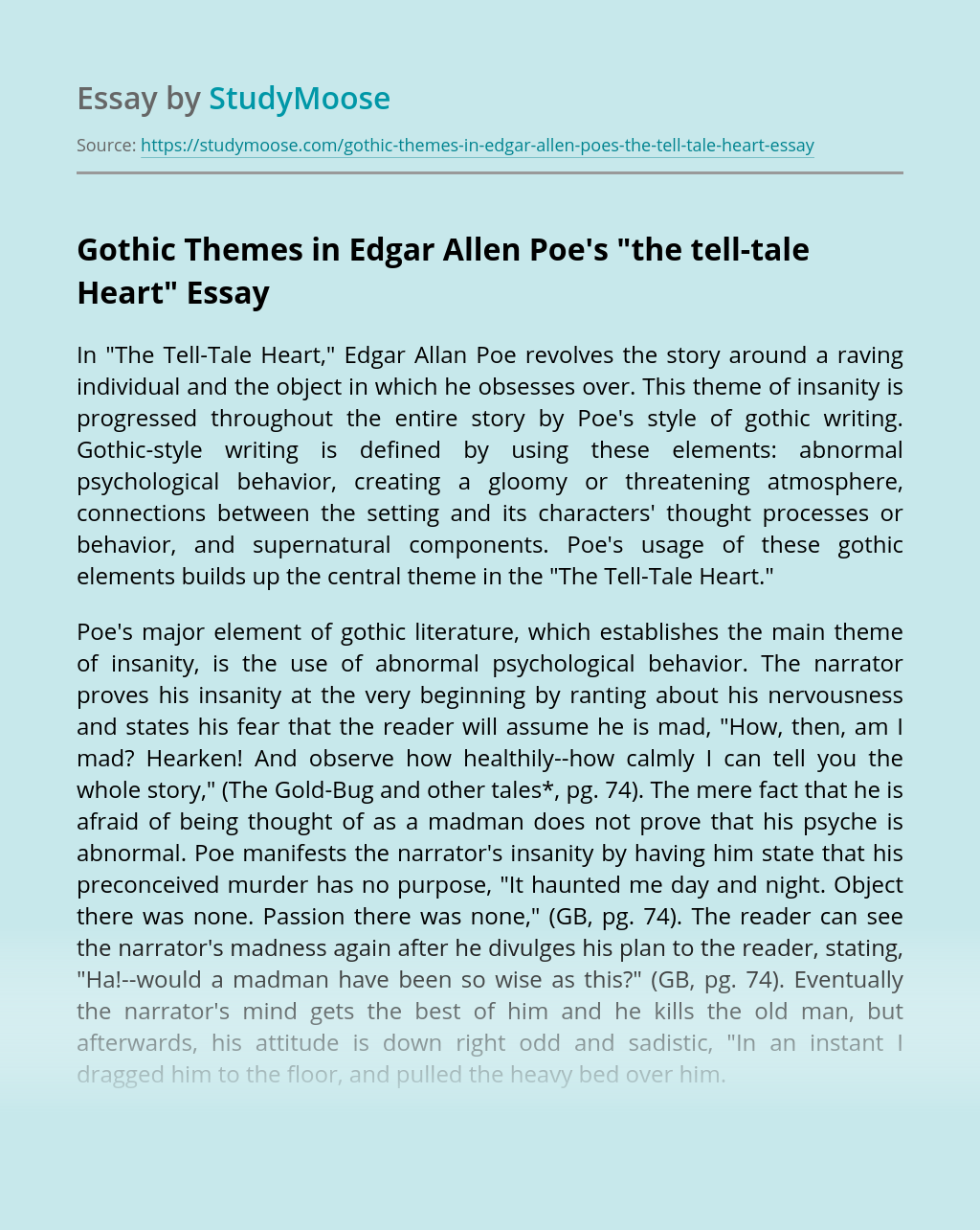 """Gothic Themes in Edgar Allen Poe's """"the tell-tale Heart"""""""