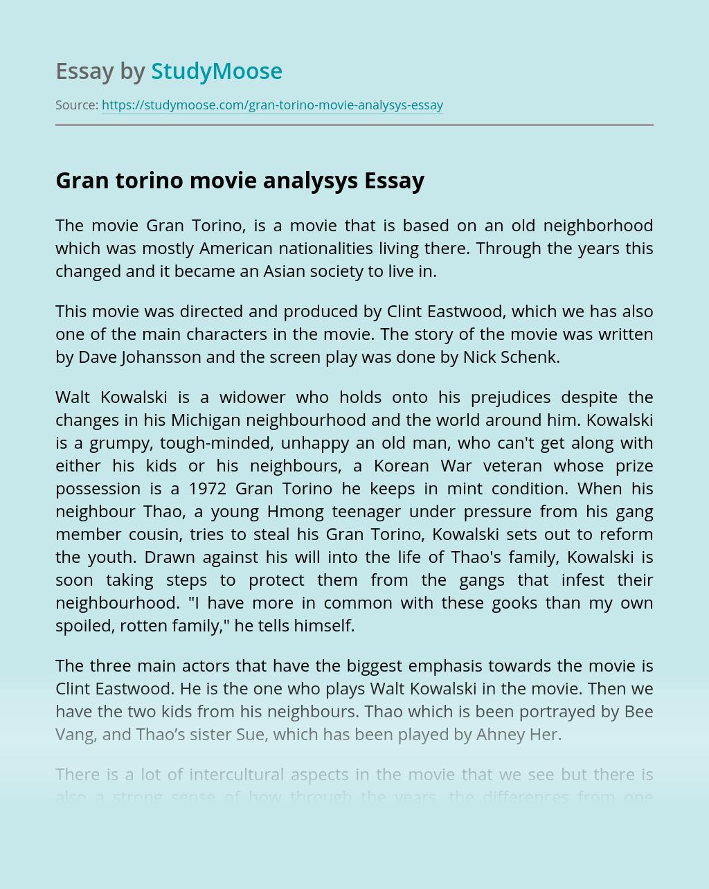 Gran torino movie analysys