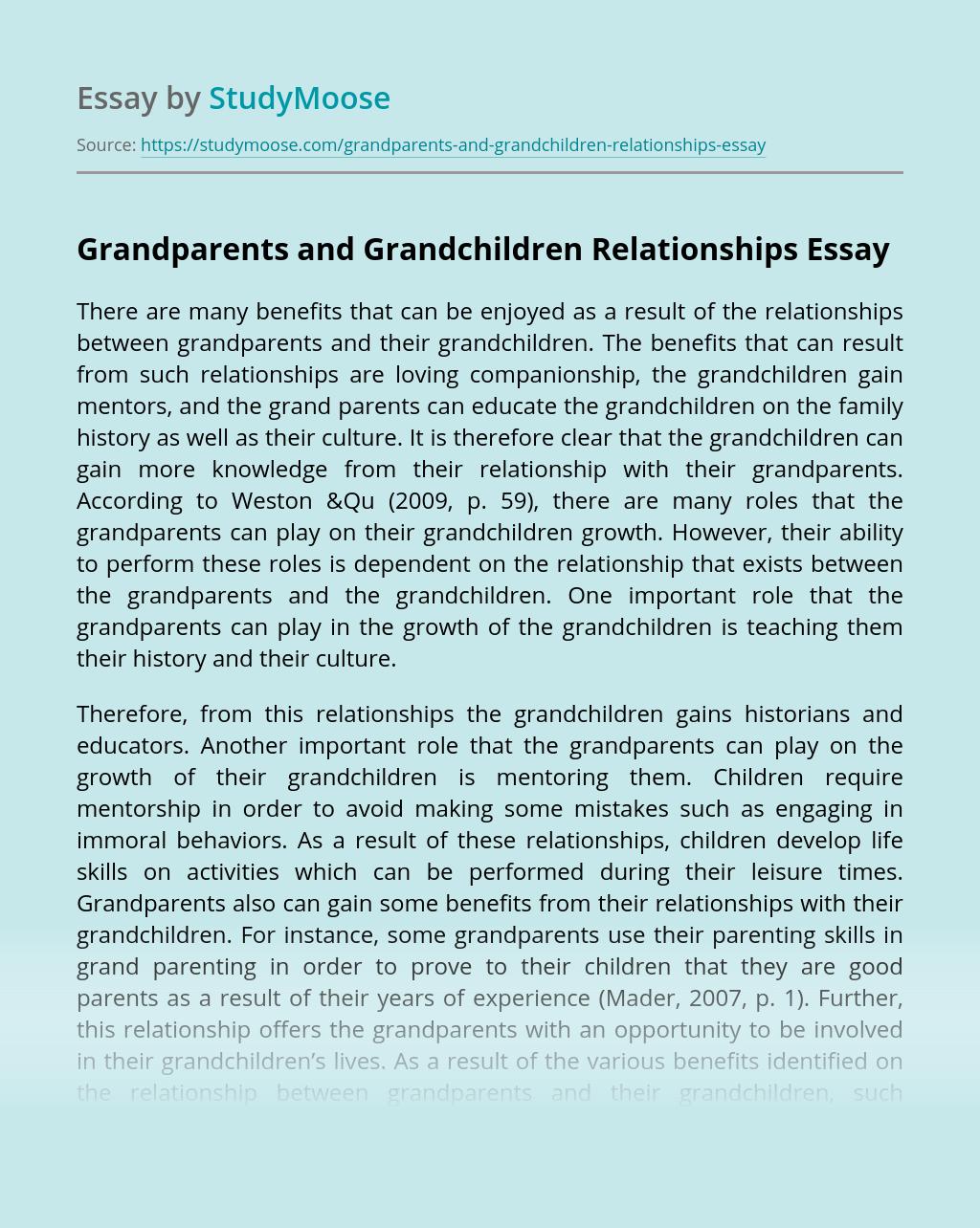 Grandparents and Grandchildren Relationships