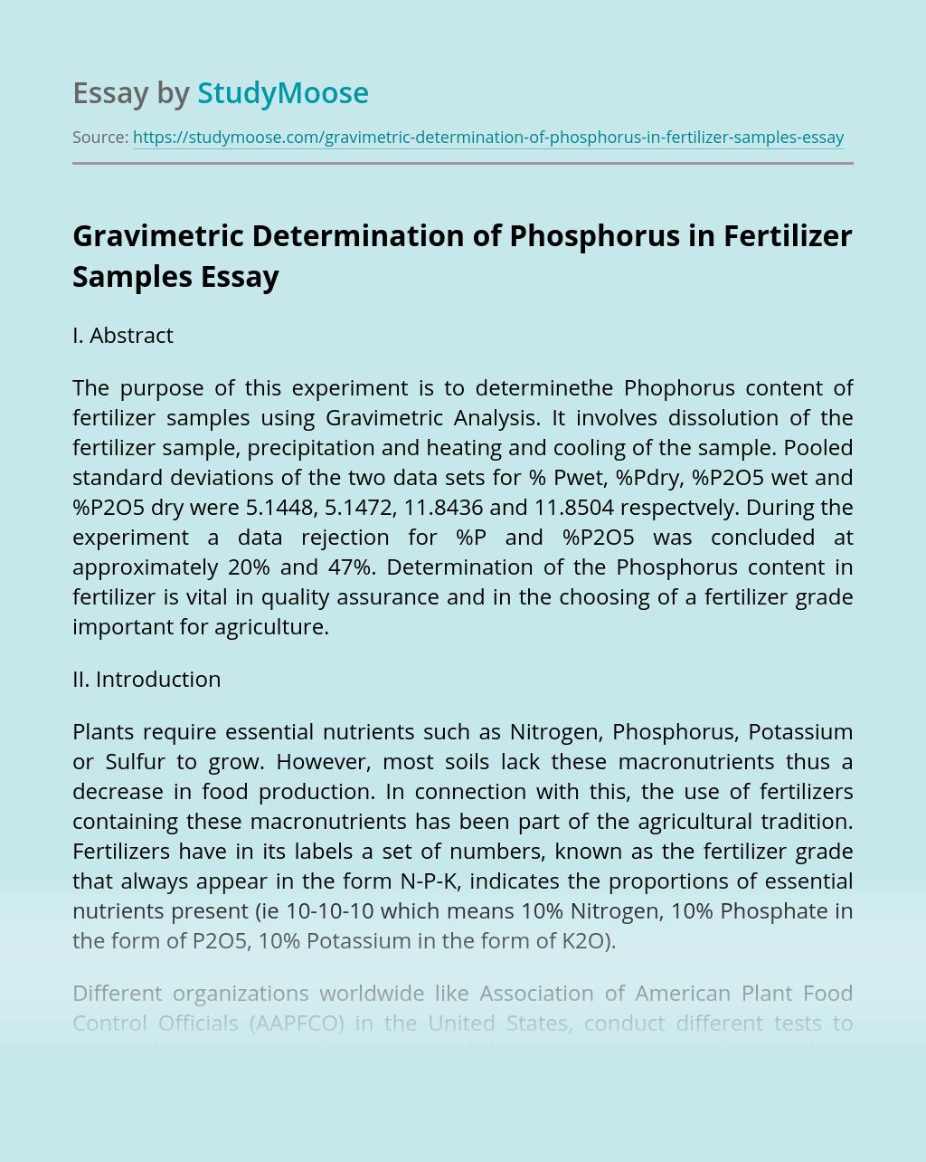 Gravimetric Determination of Phosphorus in Fertilizer Samples