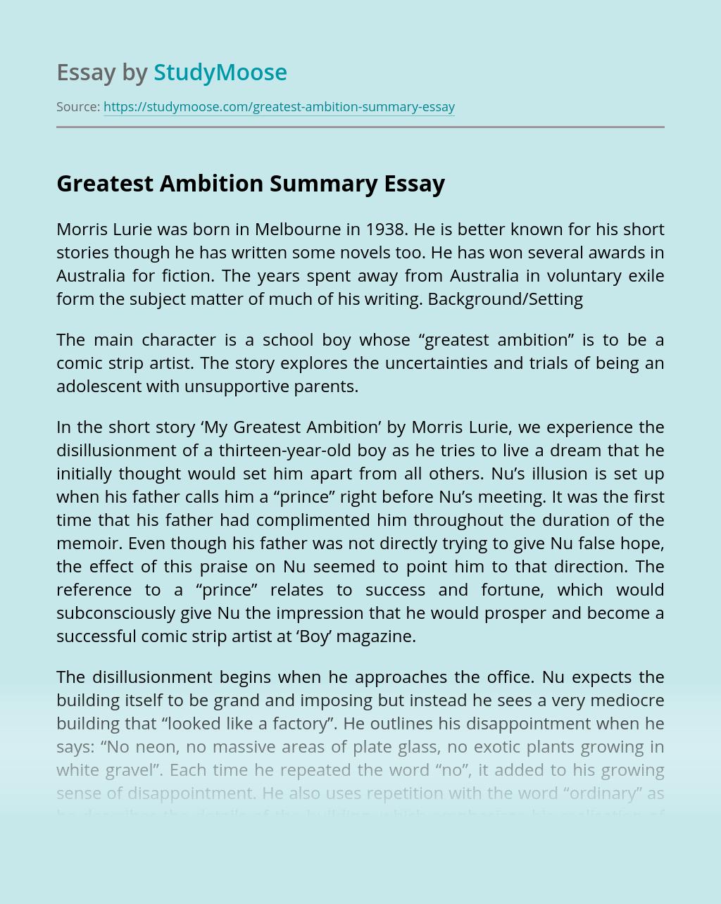 Greatest Ambition Summary