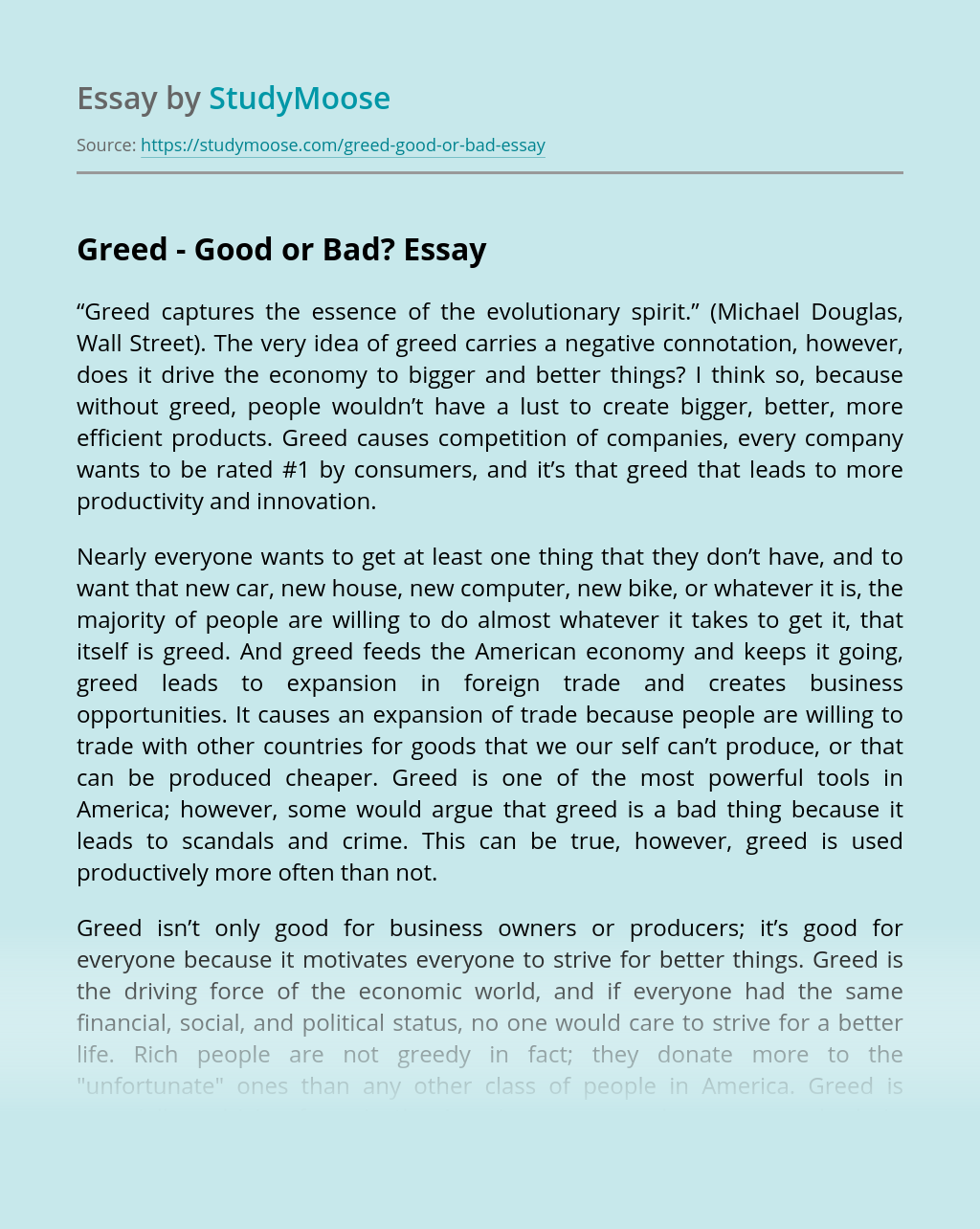 Essay about greed