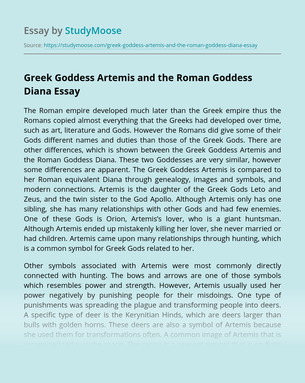 Greek Goddess Artemis and the Roman Goddess Diana