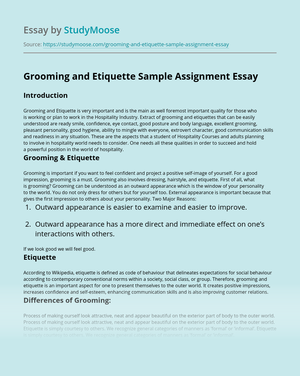Grooming and Etiquette Sample Assignment