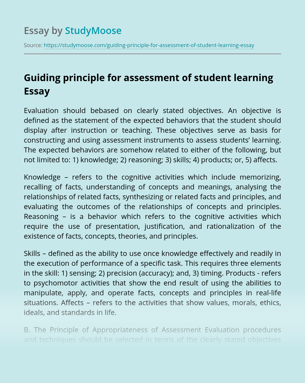 Guiding principle for assessment of student learning