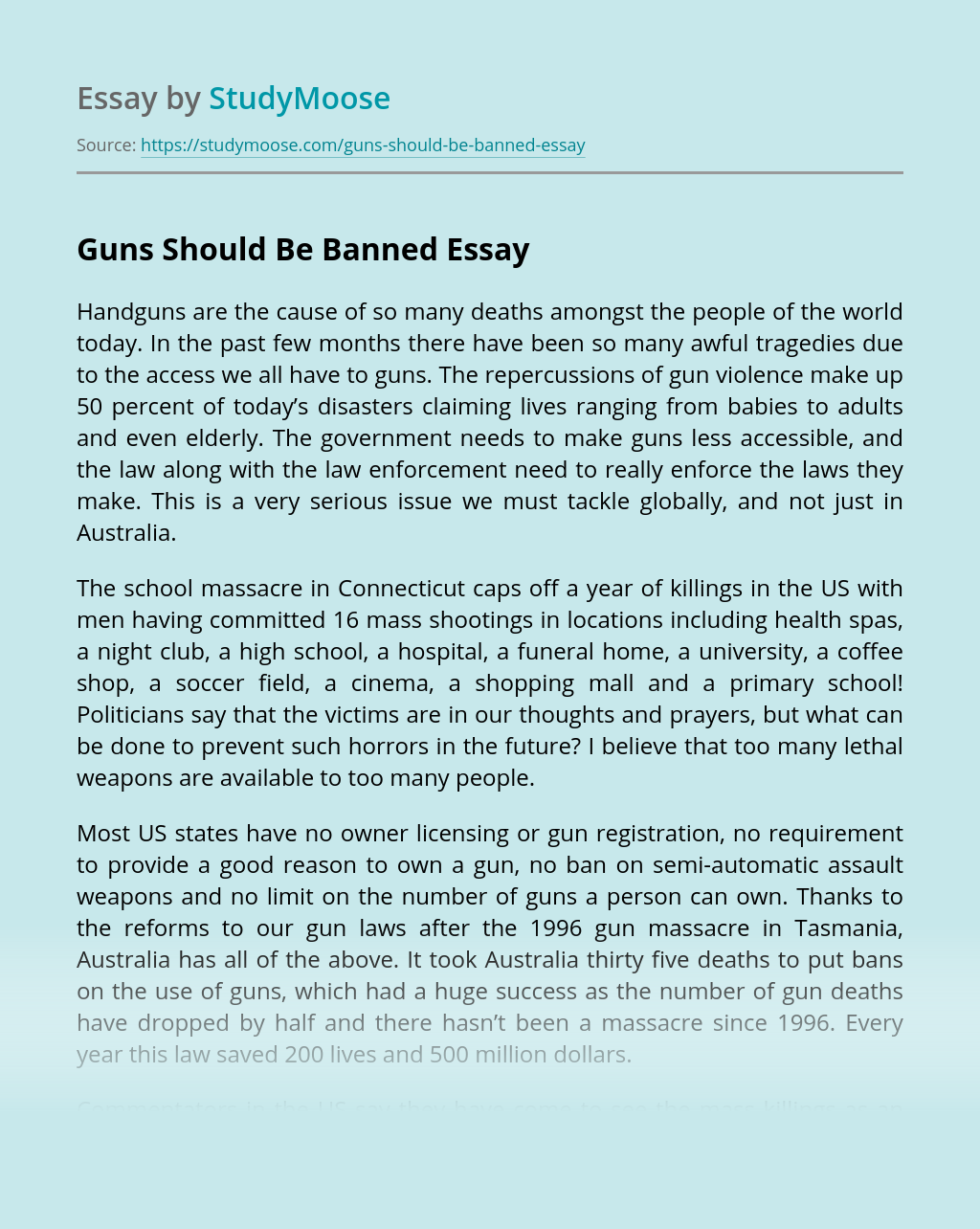 Guns Should Be Banned